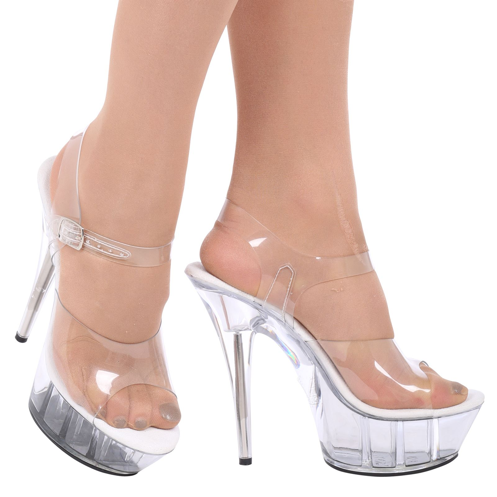 charmaine womens clear stilettos high heels platforms ladies sandals shoes size ebay. Black Bedroom Furniture Sets. Home Design Ideas