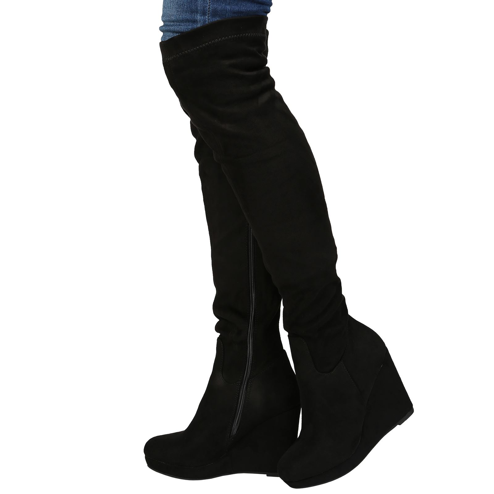 womens boots knee high heel wedge platform