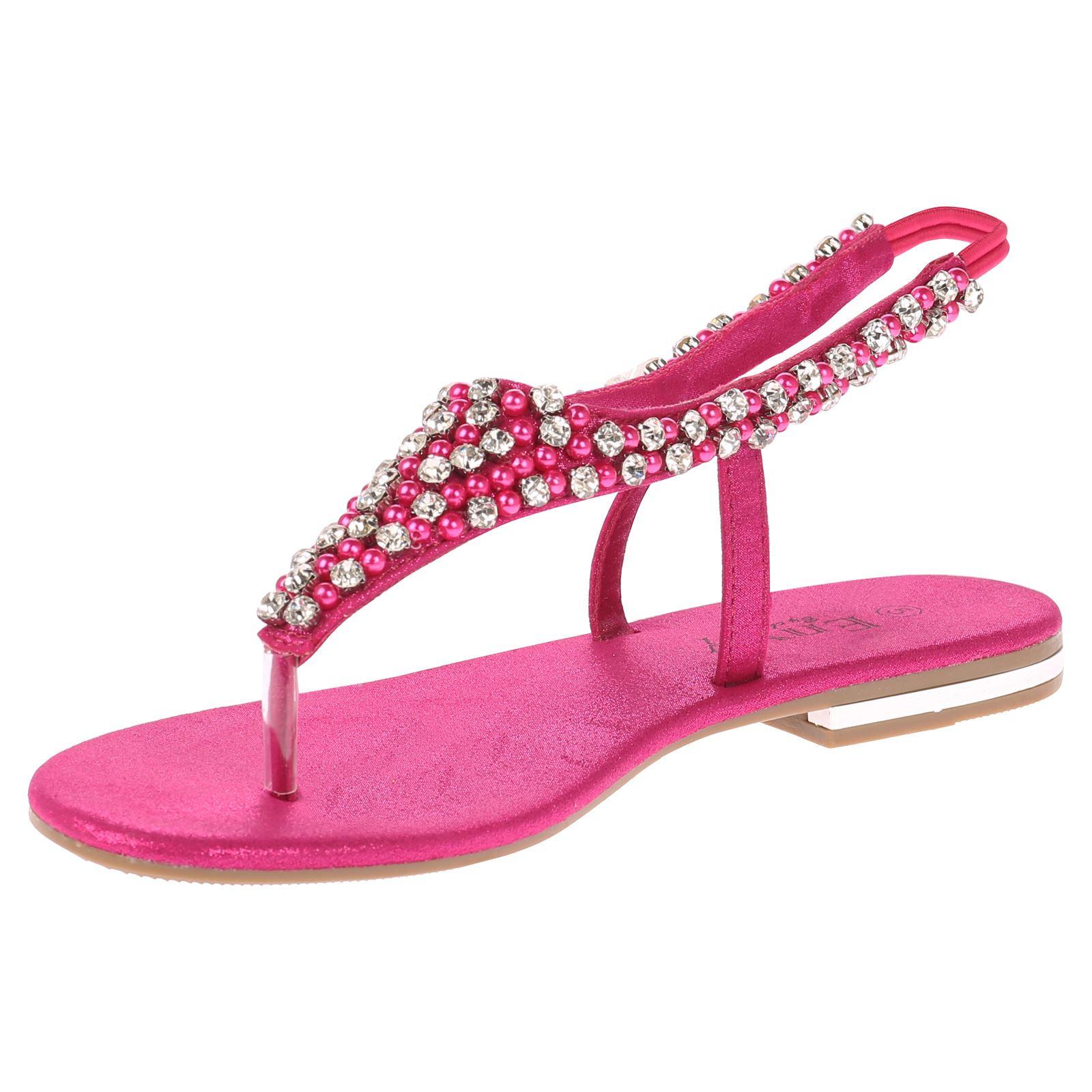 Linda Womens Flats Diamante Low Heels Evening Dress Formal ...