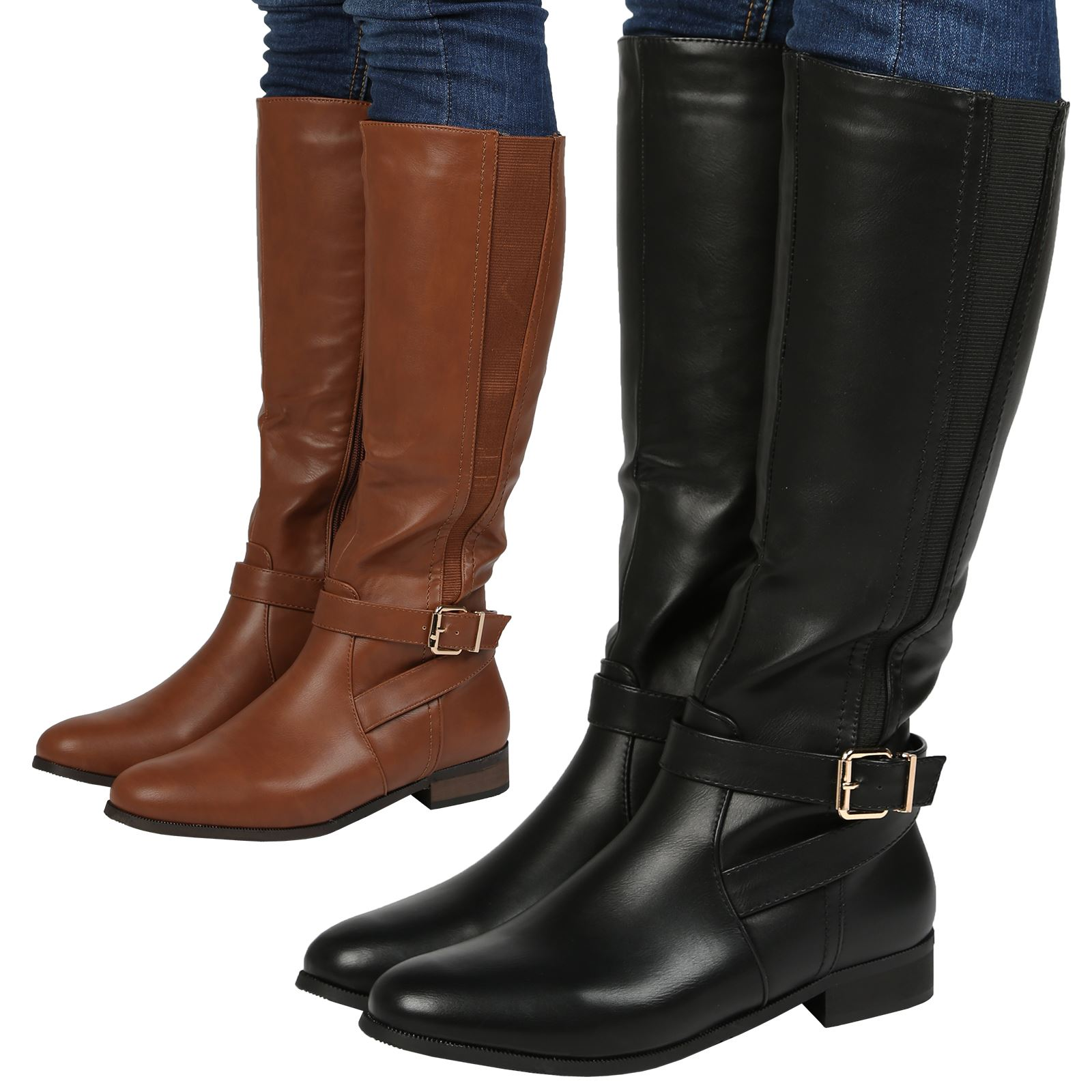 NEW WOMENS LADIES MID CALF BOOTS WINTER RIDING BUCKLE LOW