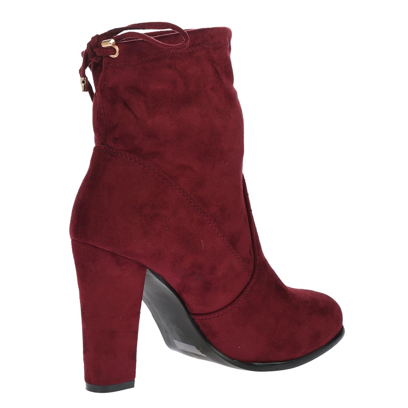 new womens high block heel stretch pull on
