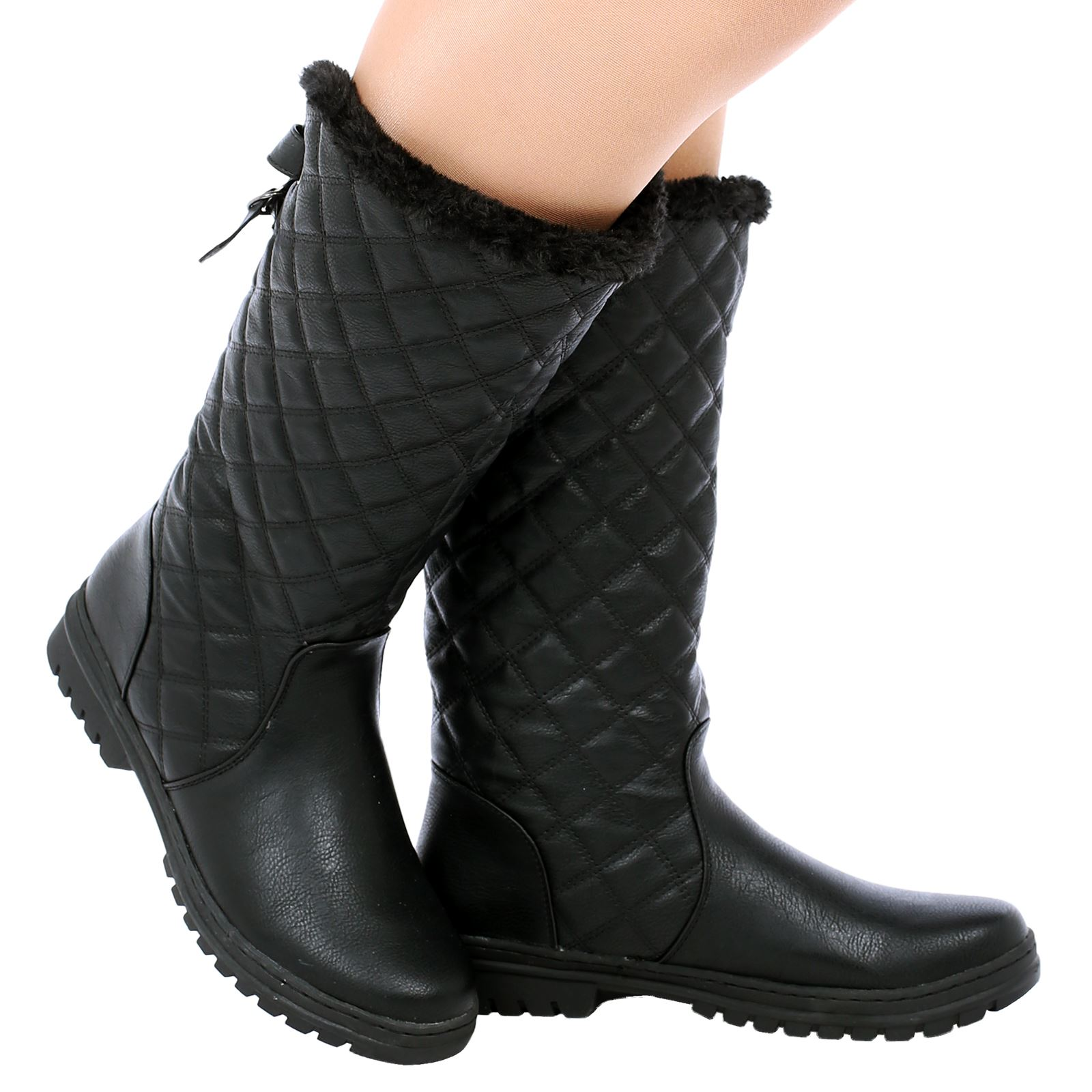 D6Z Womens Ladies Quilted Faux Fur Lined Thick Sole Mid