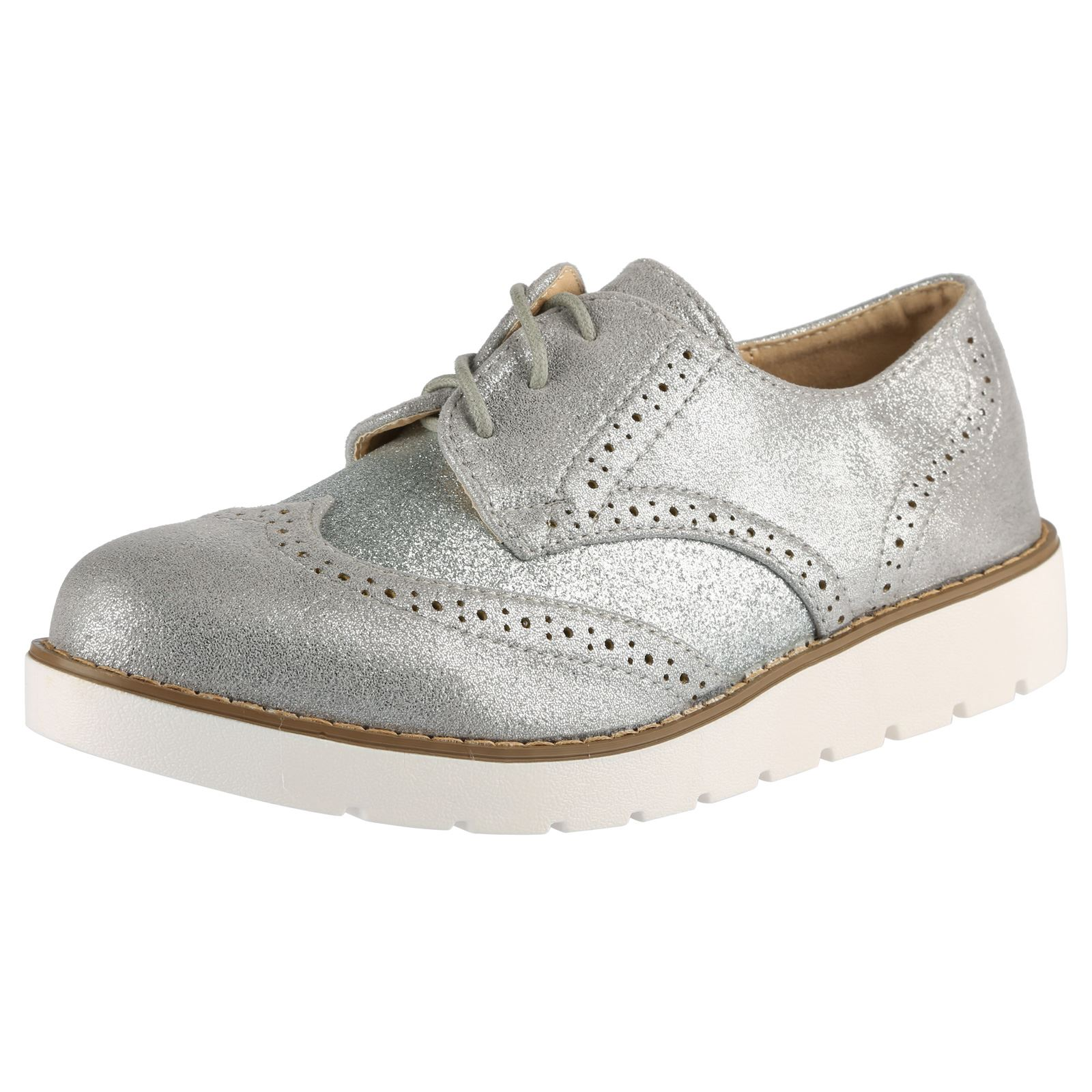 womens brogues lace up glitter shimmer two tone