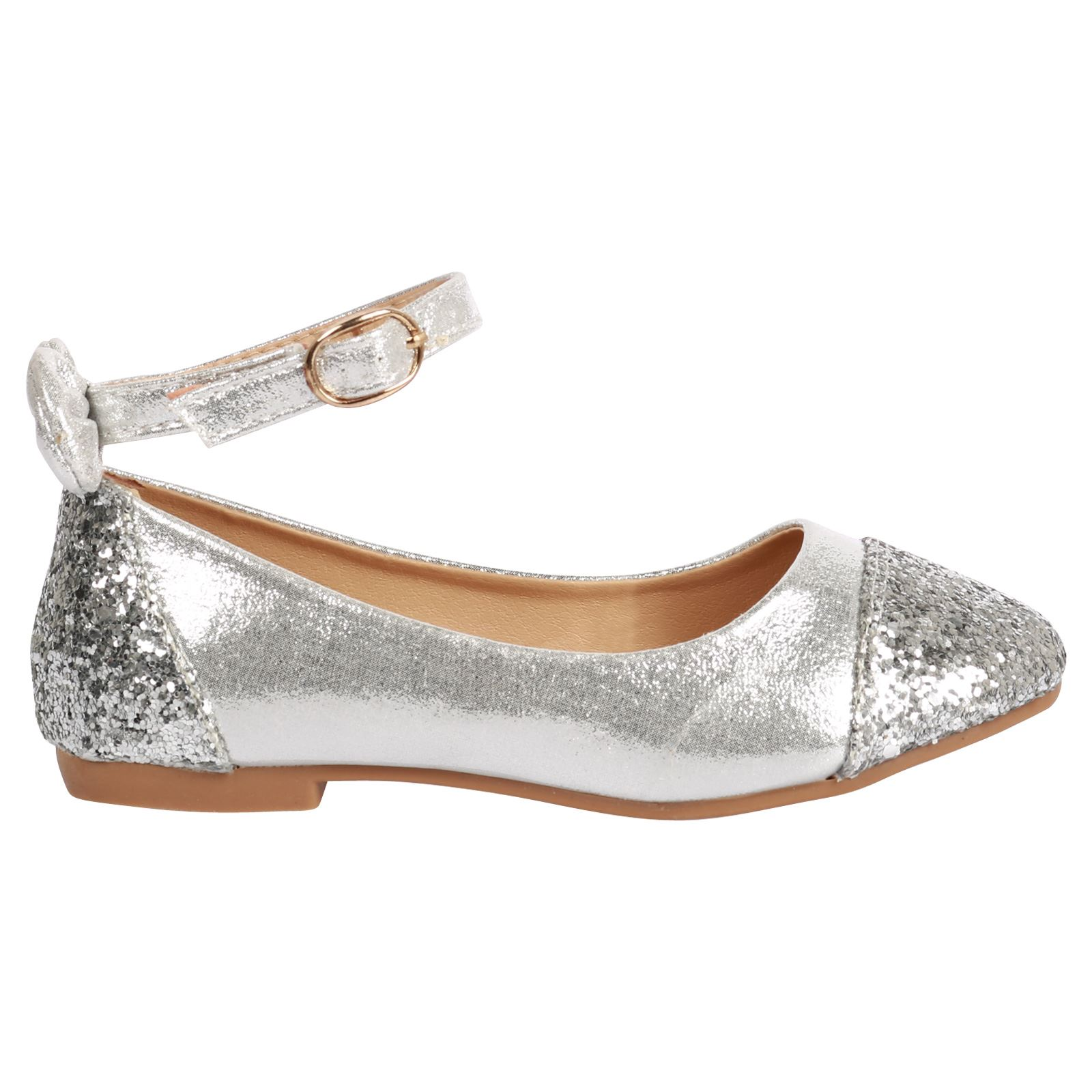 Bridal Shoes Jb: Buttercup Girls Kids Flats Glitter Bow Detail Ballerina