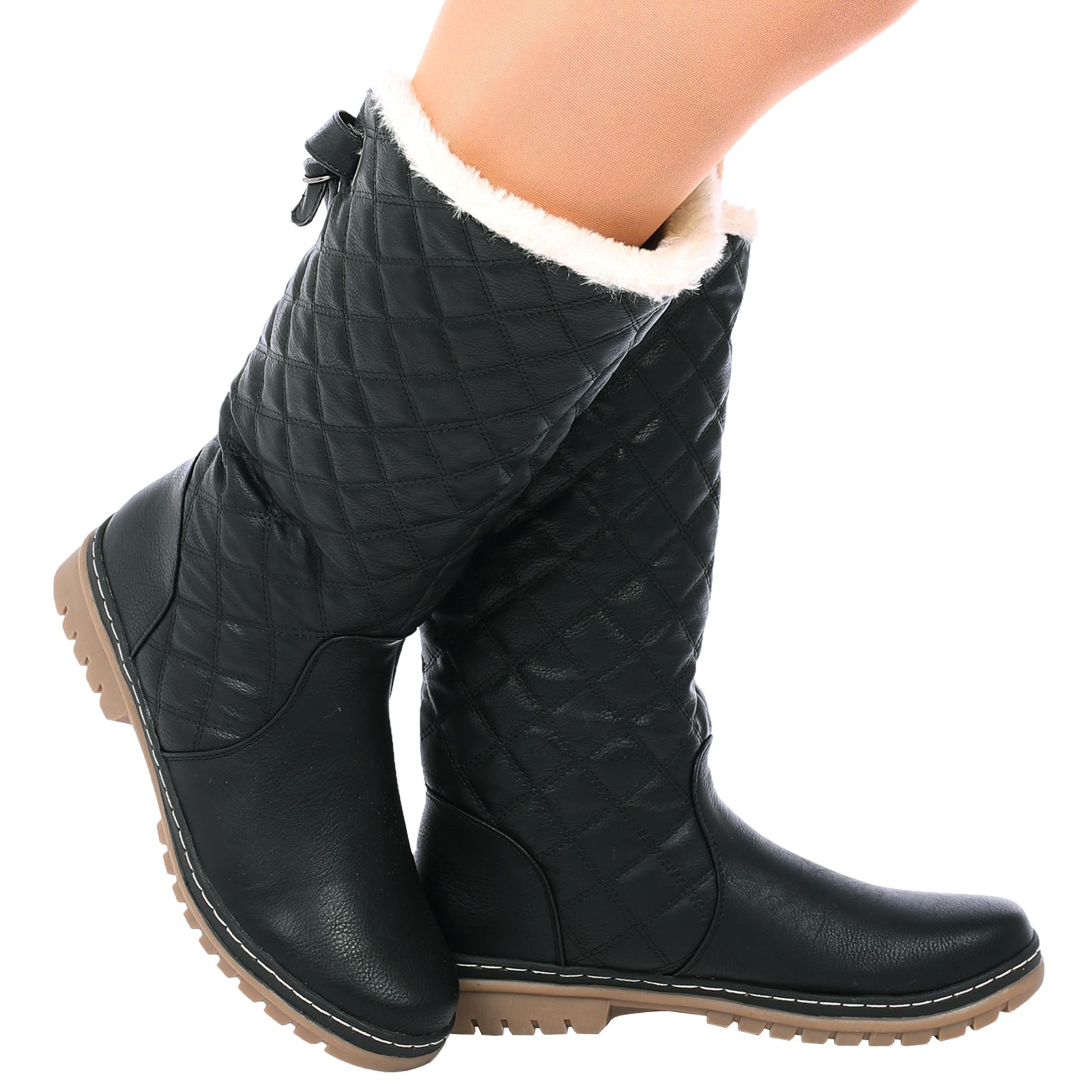 Womens Ladies Quilted Faux Fur Lined Thick Sole Mid Calf Ankle Boots Girls Shoes Uk Sizes XP_2654