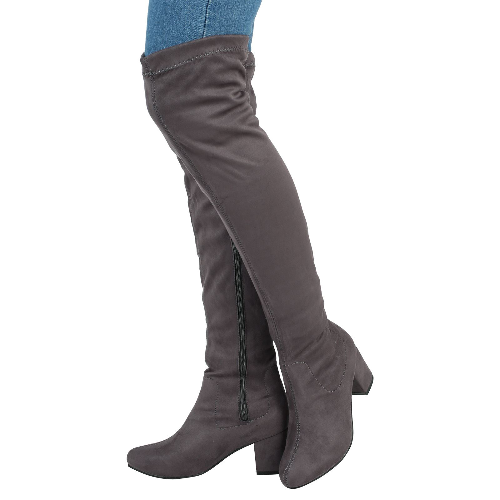 WOMENS BOOTS LADIES OVER THE KNEE HIGH MID BLOCK HEEL STRETCH ...