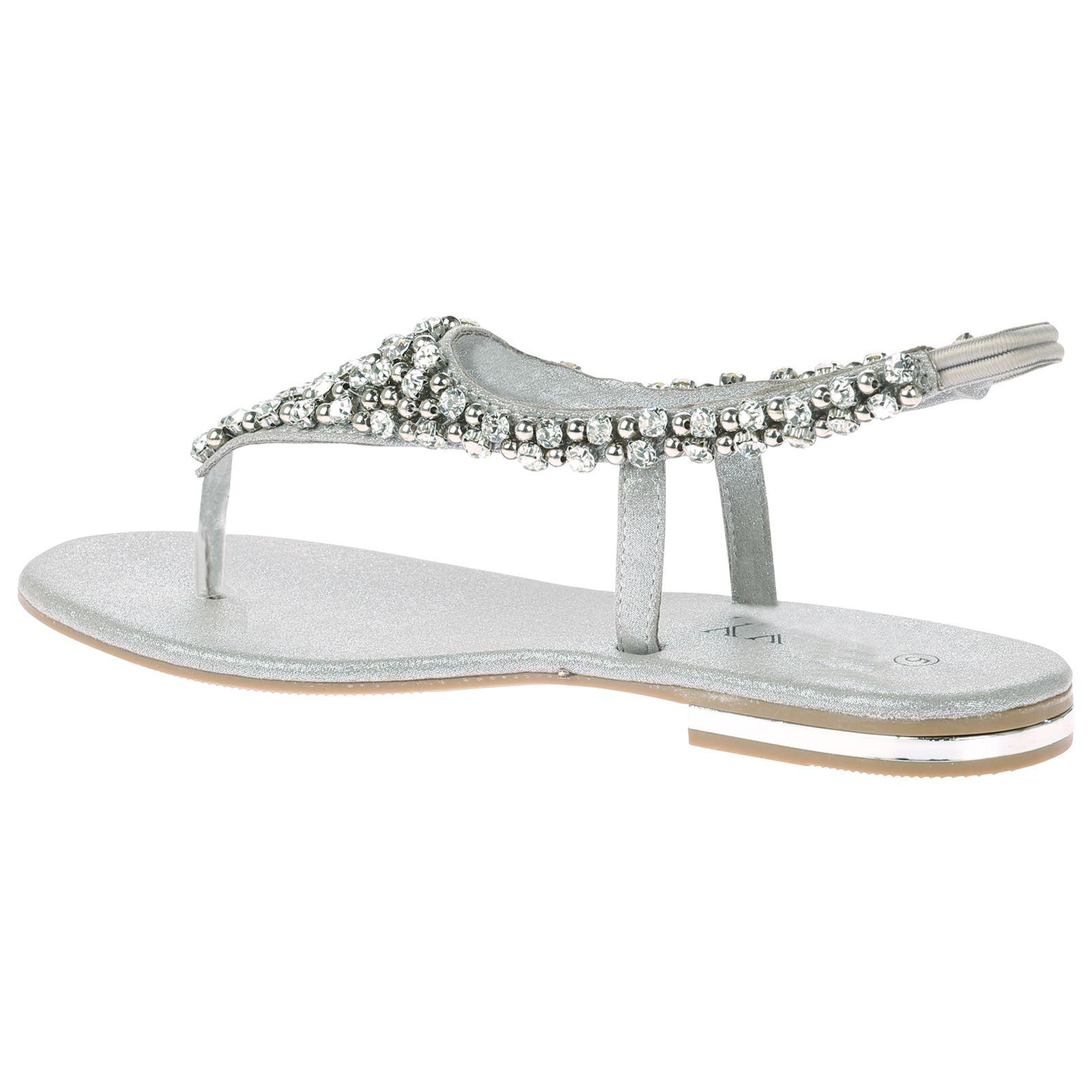 Linda Womens Flats Diamante Low Heels Evening Dress Formal Sandals Ladies Shoes | EBay