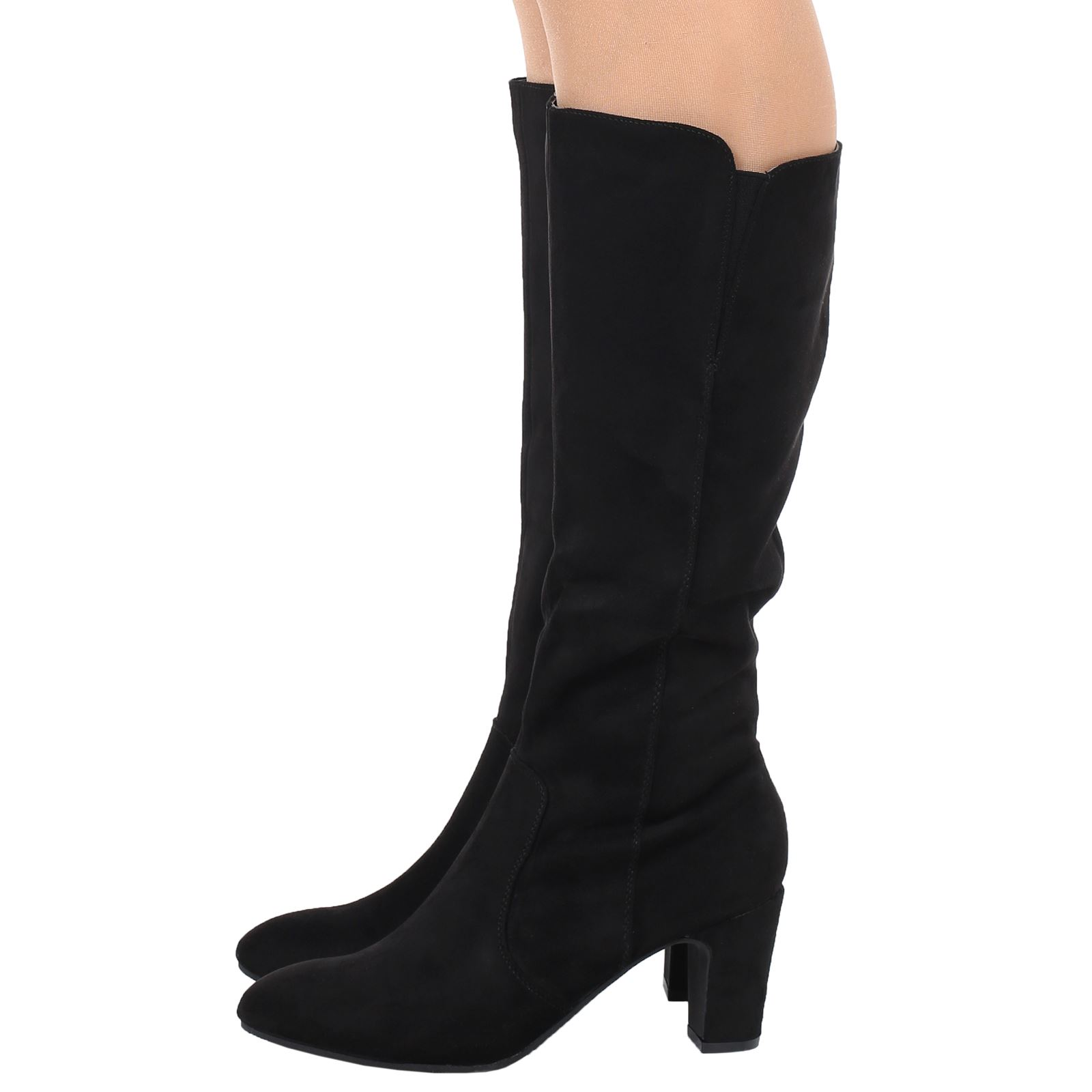 womens knee high mid calf block heel zip boots