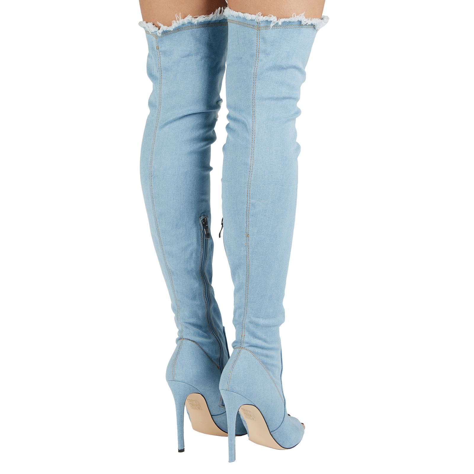 WOMENS OVER KNEE THIGH BOOTS DEMIN STRETCH JEANS STILETTO ...