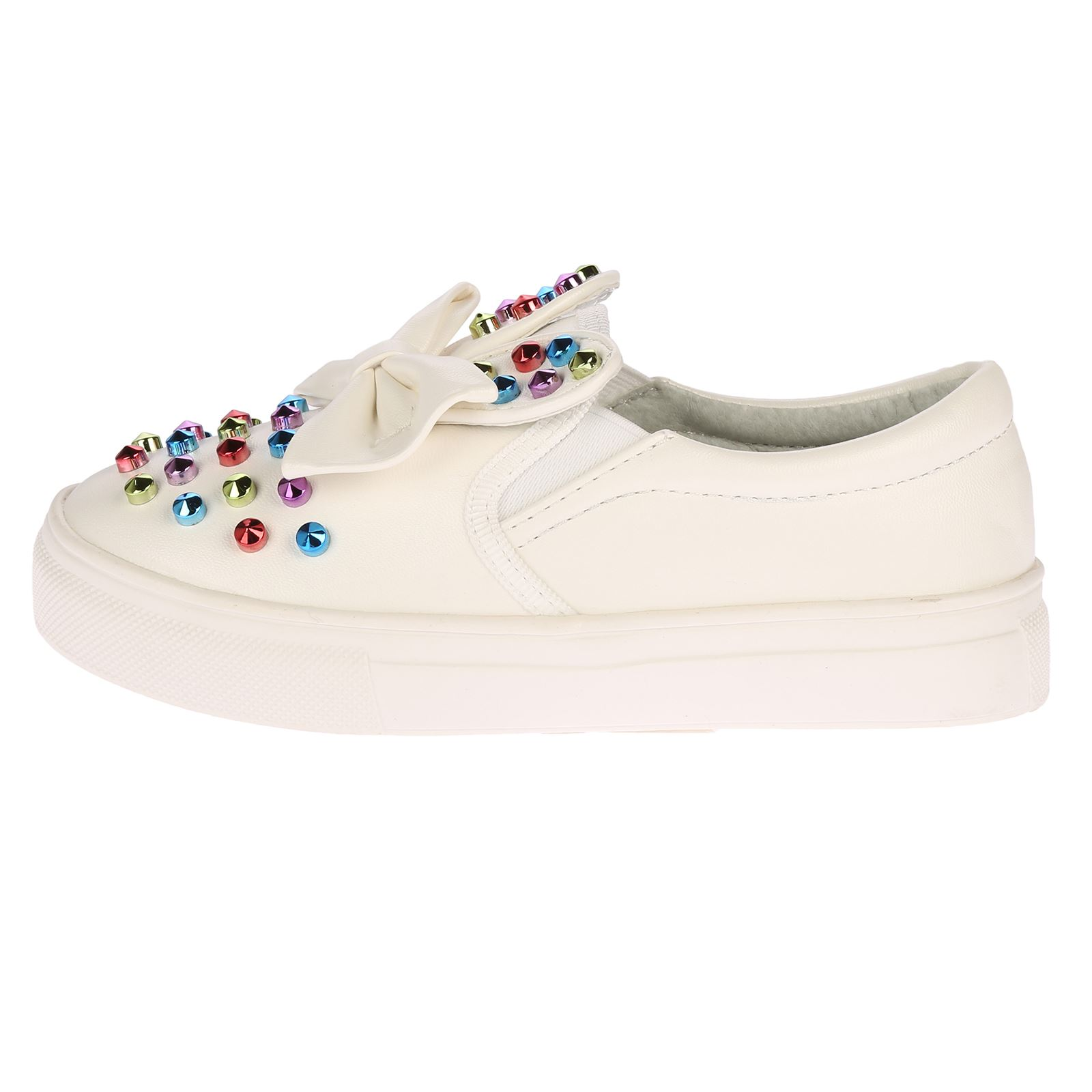 NEW GIRLS FLATS CHILDRENS KIDS PUMPS PLIMSOLLS SCHOOL TRAINERS STUDDED SHOES