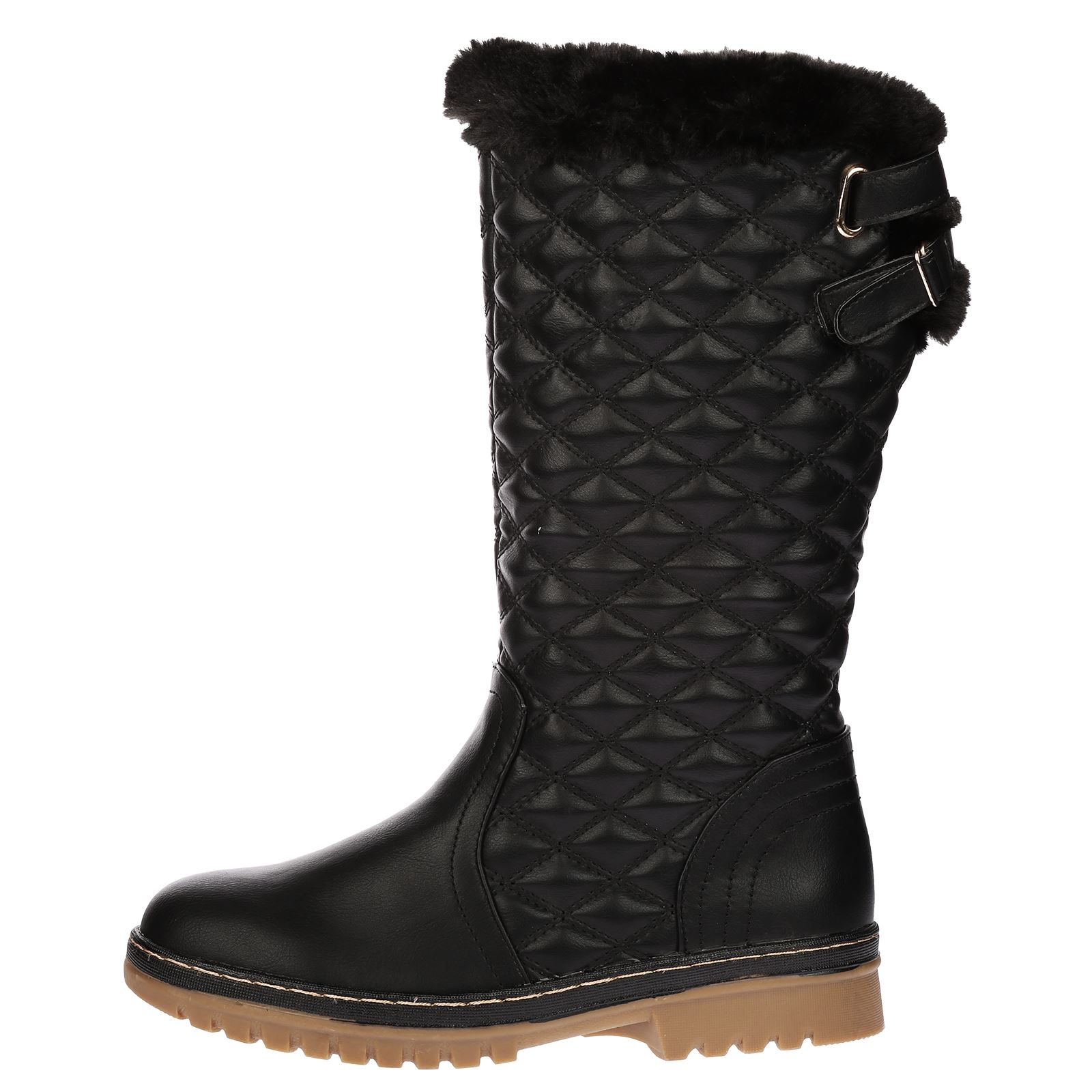 womens boots mid calf fur lined zip flat quilted