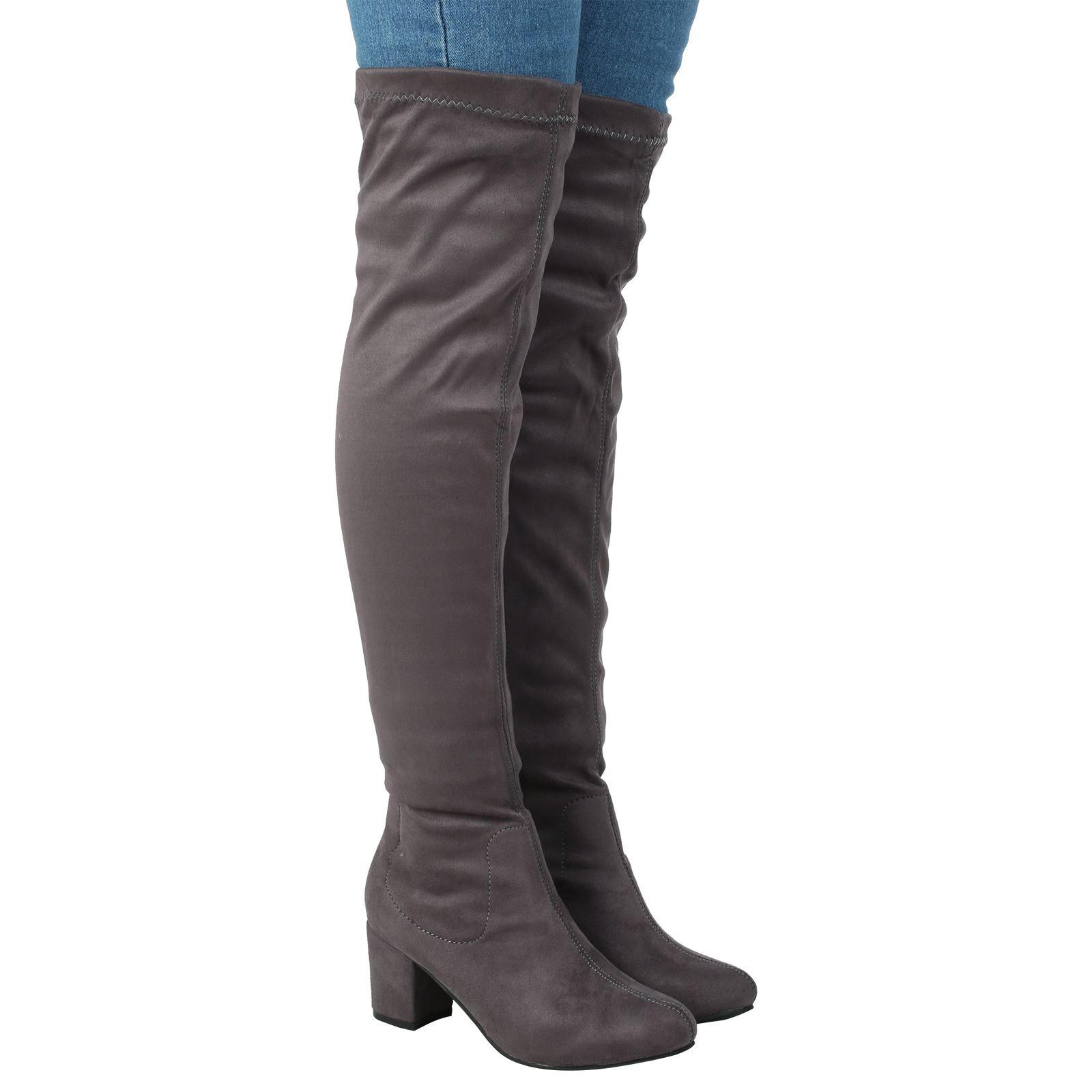womens boots the knee high mid block heel