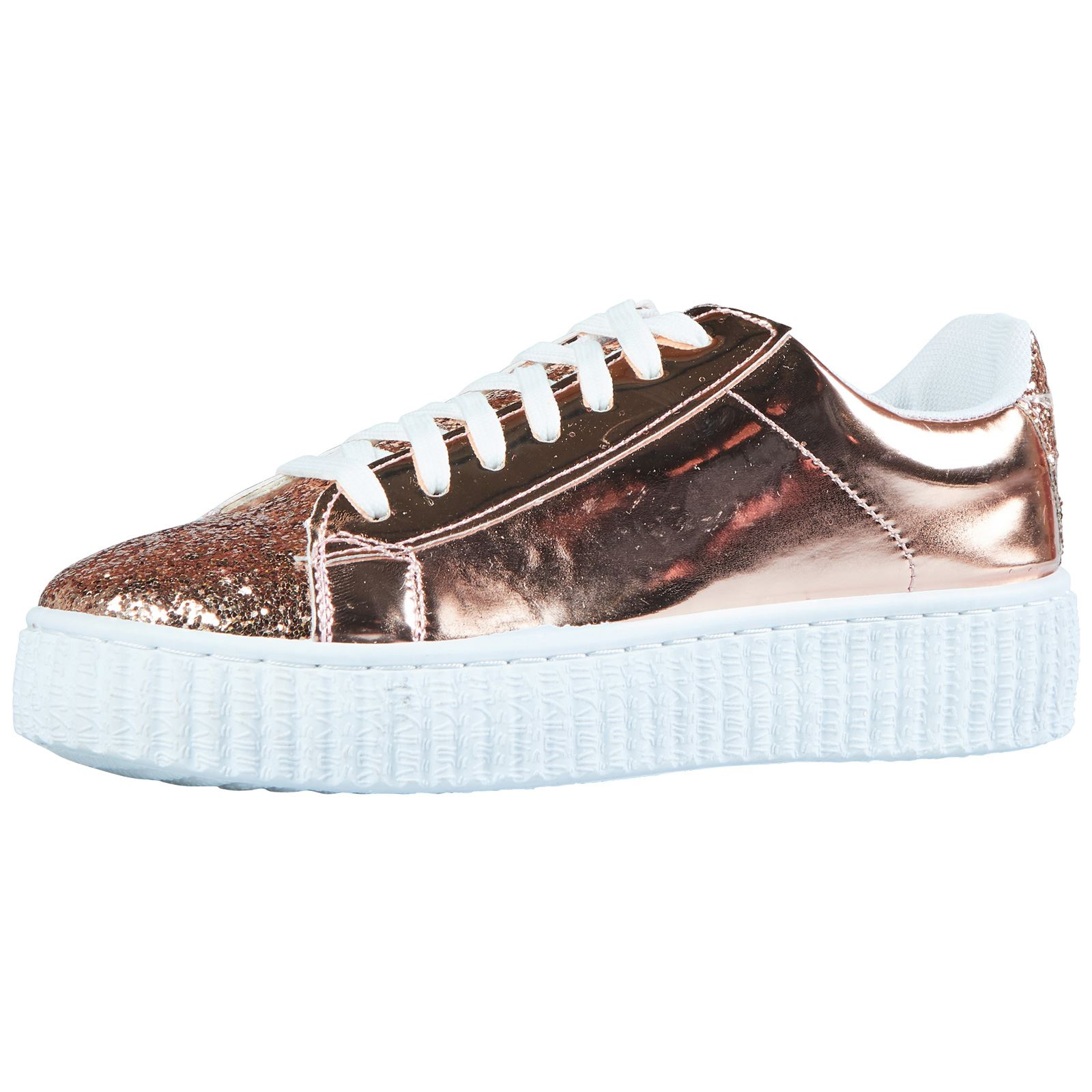 womens shoes glitter platforms two tone trainers