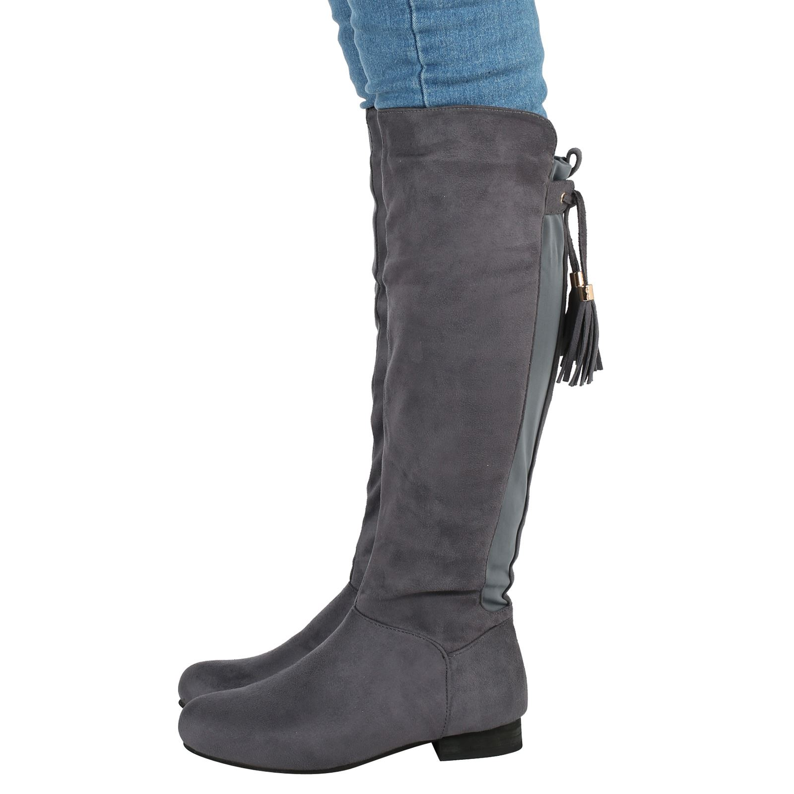 womens boots knee high stretch flat elasticated