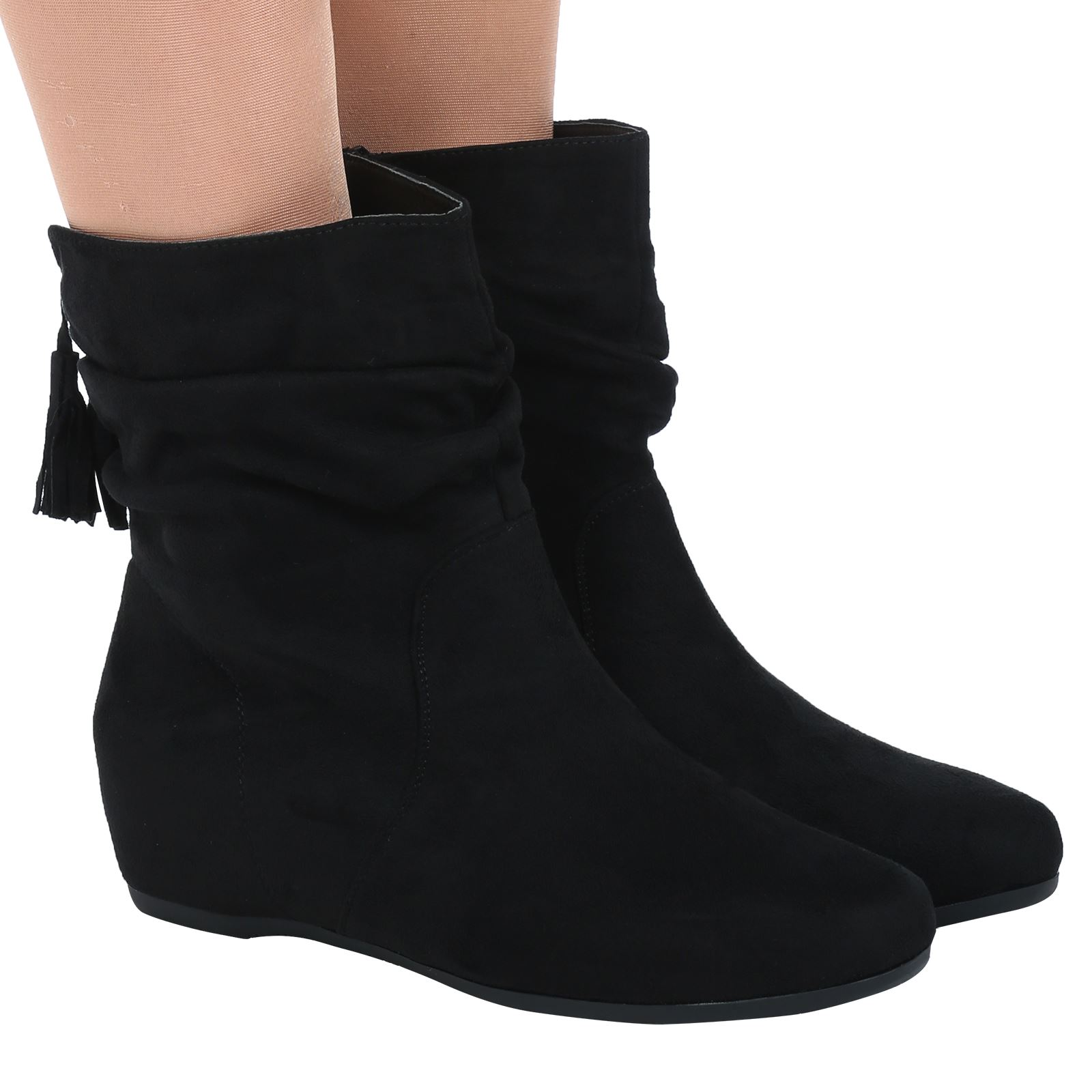 WOMENS SHOES LADIES FLAT SLOUCH LOW HEEL WEDGE ANKLE BOOTS PIXIE CASUAL SIZE NEW | EBay