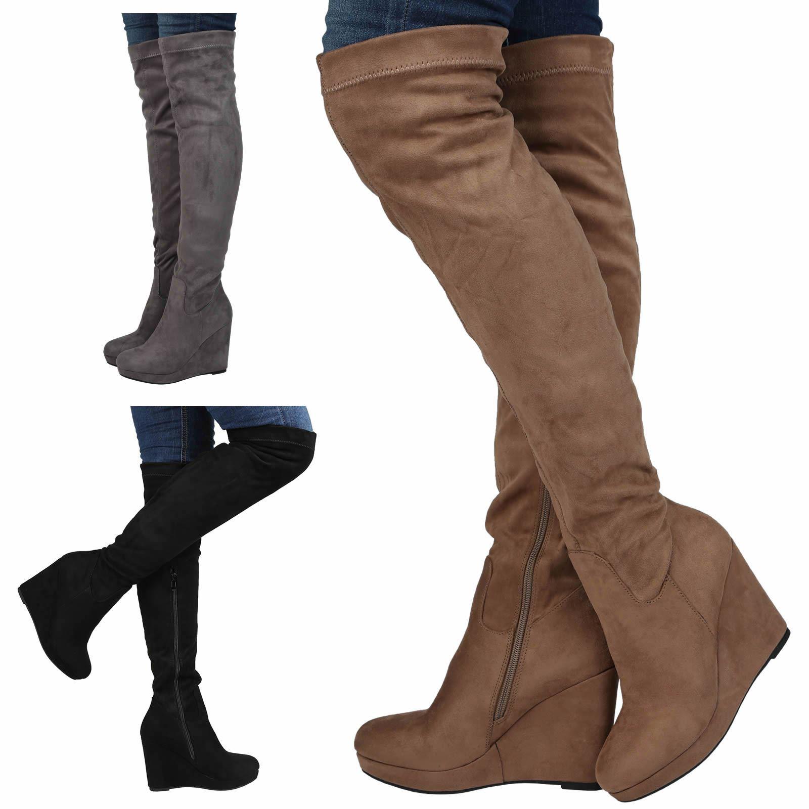 womens boots knee high heel wedge platform