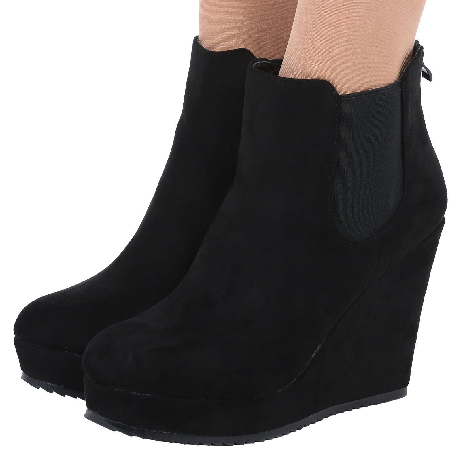 womens wedges ankle boots chelsea platform high