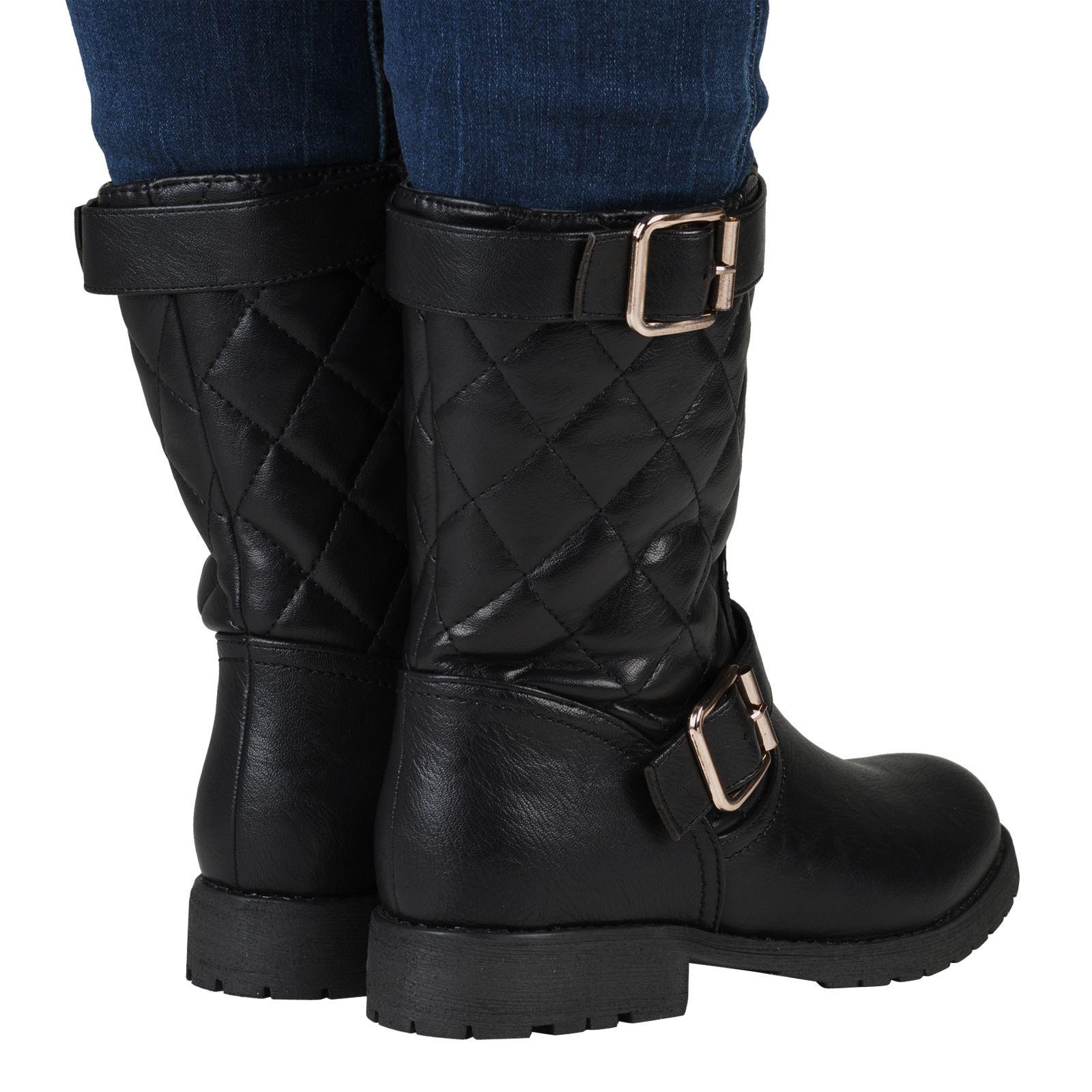 womens worker combat biker flat zip ankle