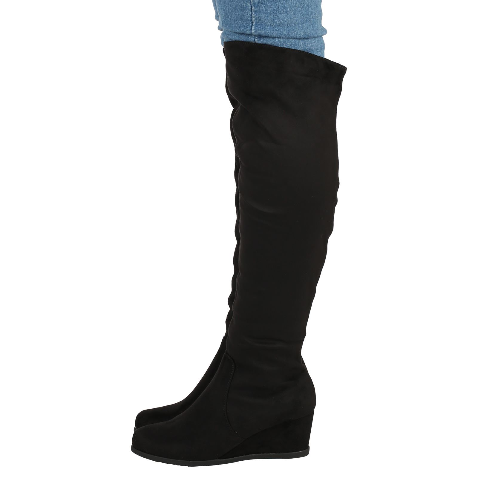 womens boots knee high wedges low heels shoes fur