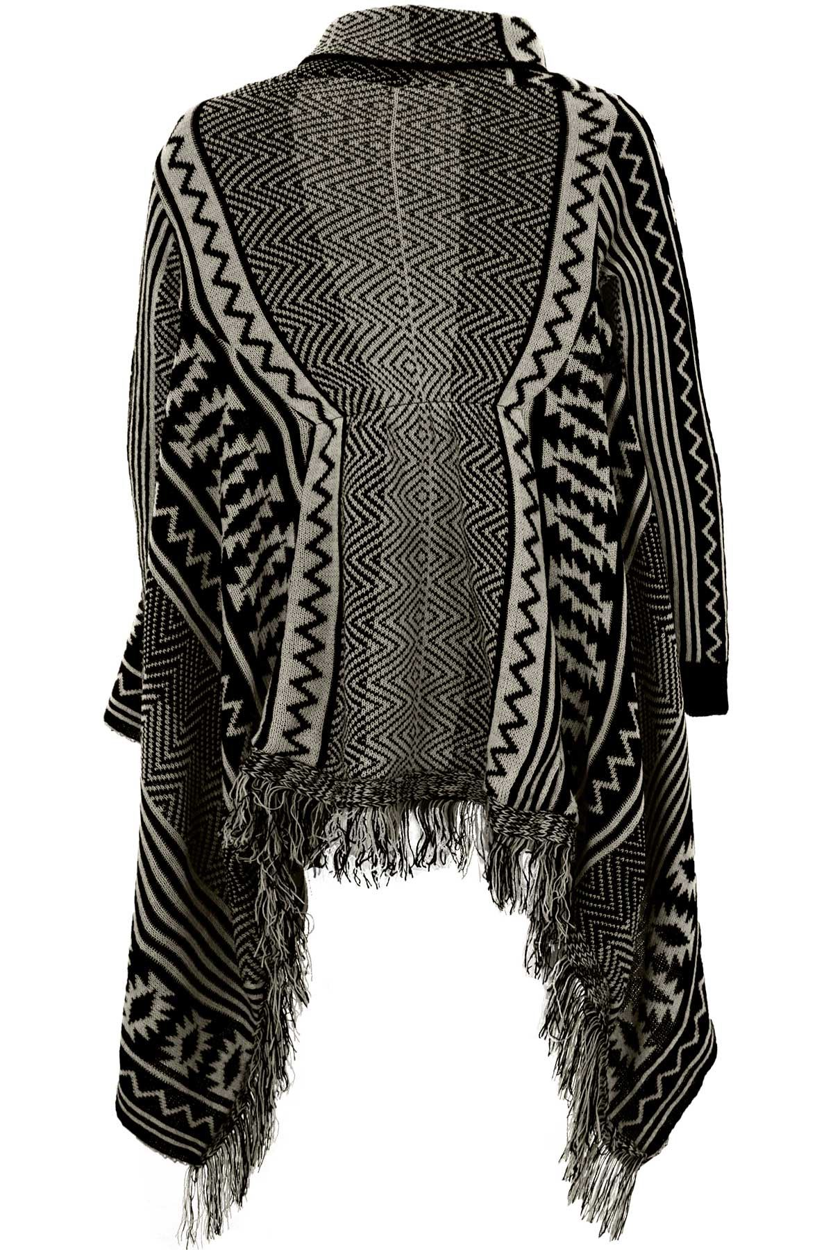 Ladies Aztec Tassel Waterfall Cardigan Women's Knitted Shawl ...