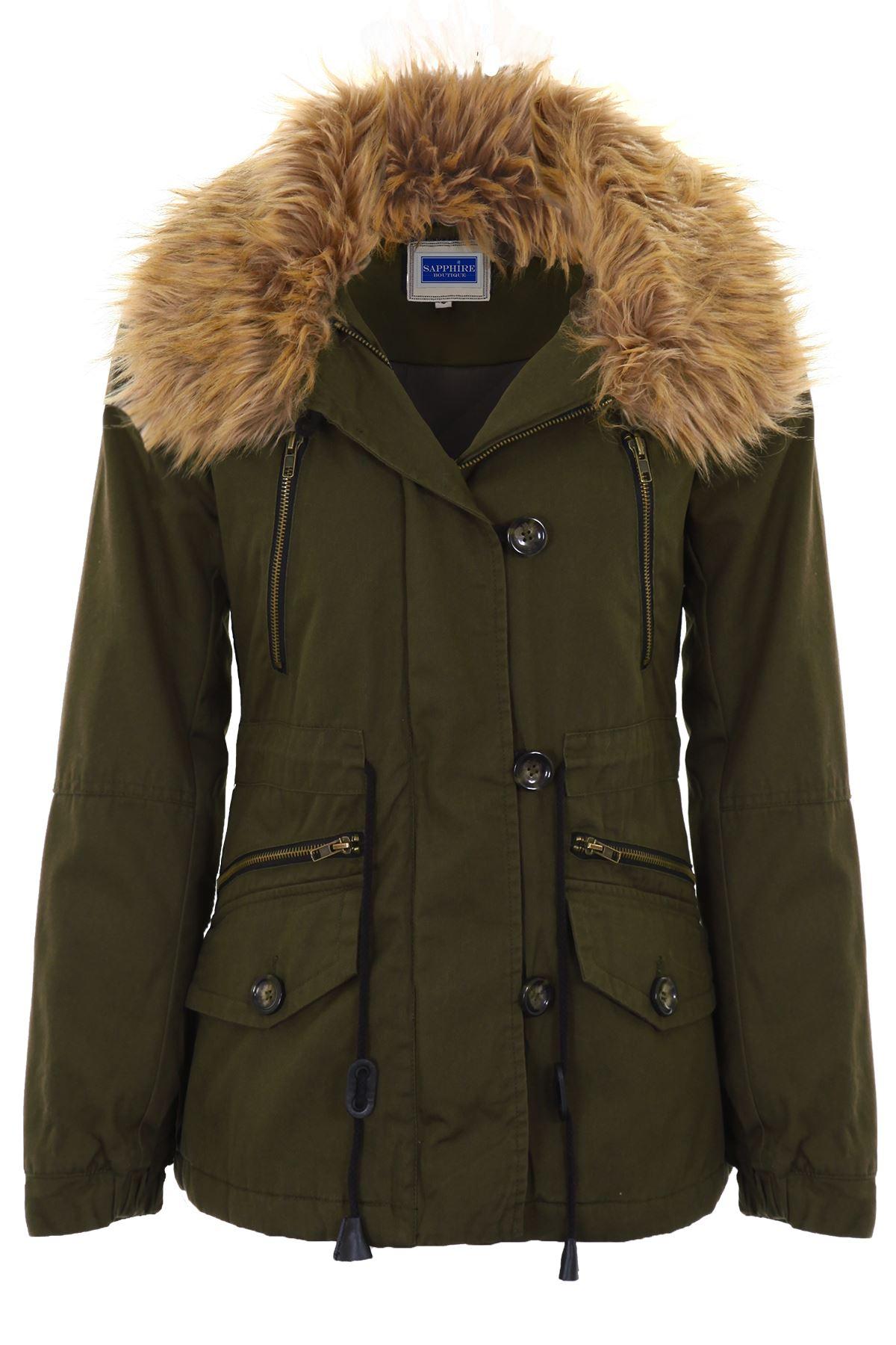 women 39 s lined winter warm faux fur trim ladies parka short. Black Bedroom Furniture Sets. Home Design Ideas