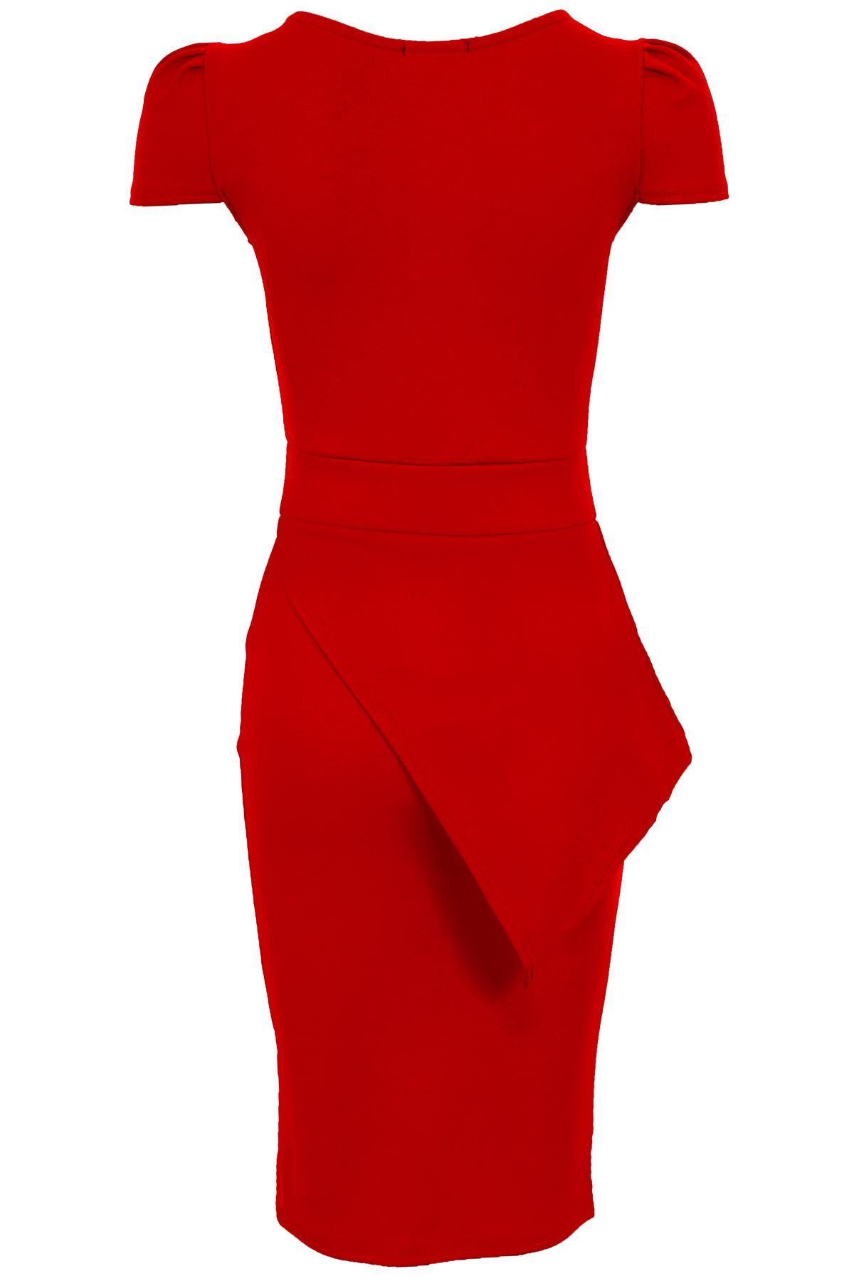 Ladies Cap Sleeve Asymmetric Neon Pencil Bodycon Sexy Women's Midi Party Dress