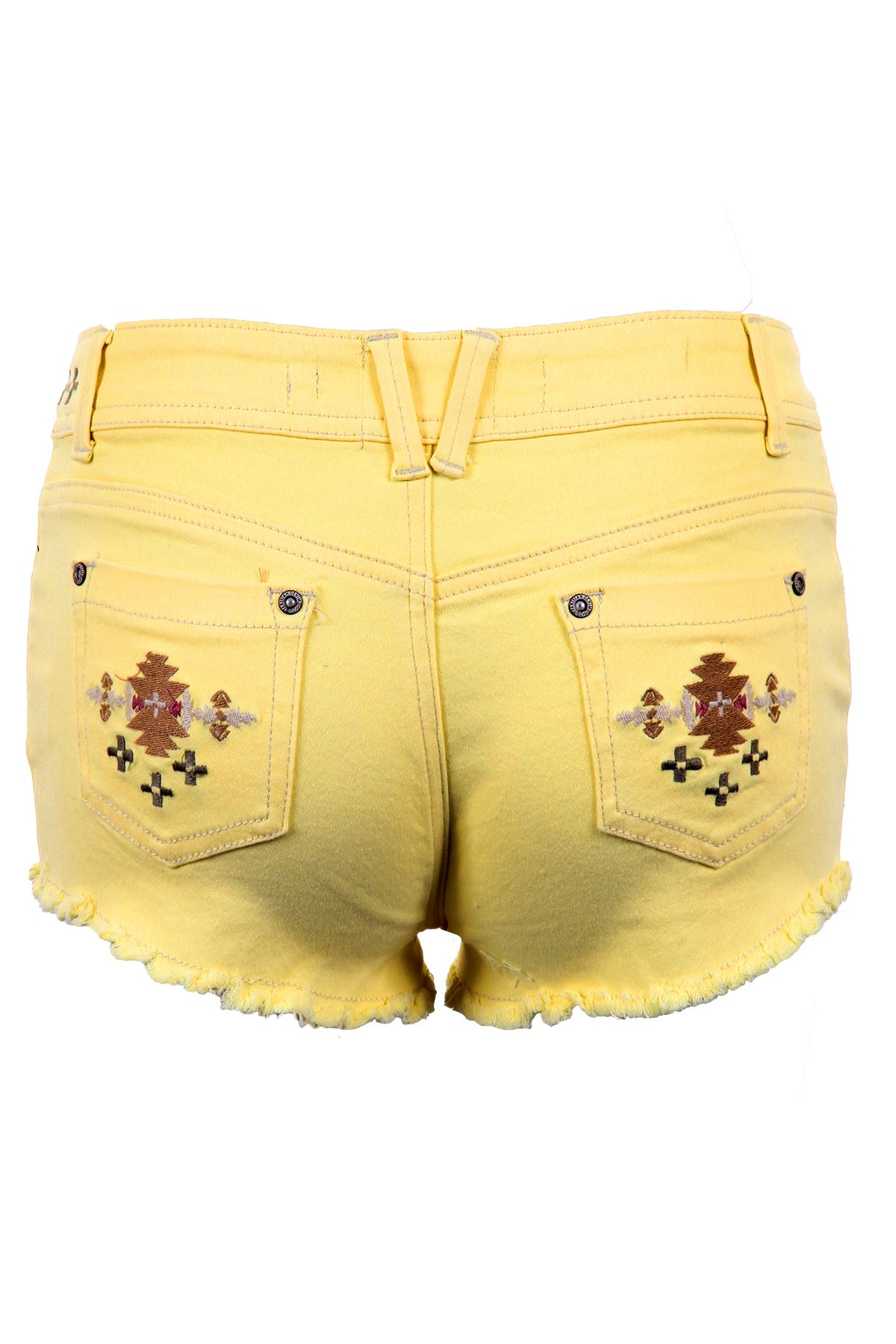 Women-039-s-Pastel-Coloured-Aztec-Denim-Summer-Fitted-Hot-Pants-Shorts-Jeans-6-14