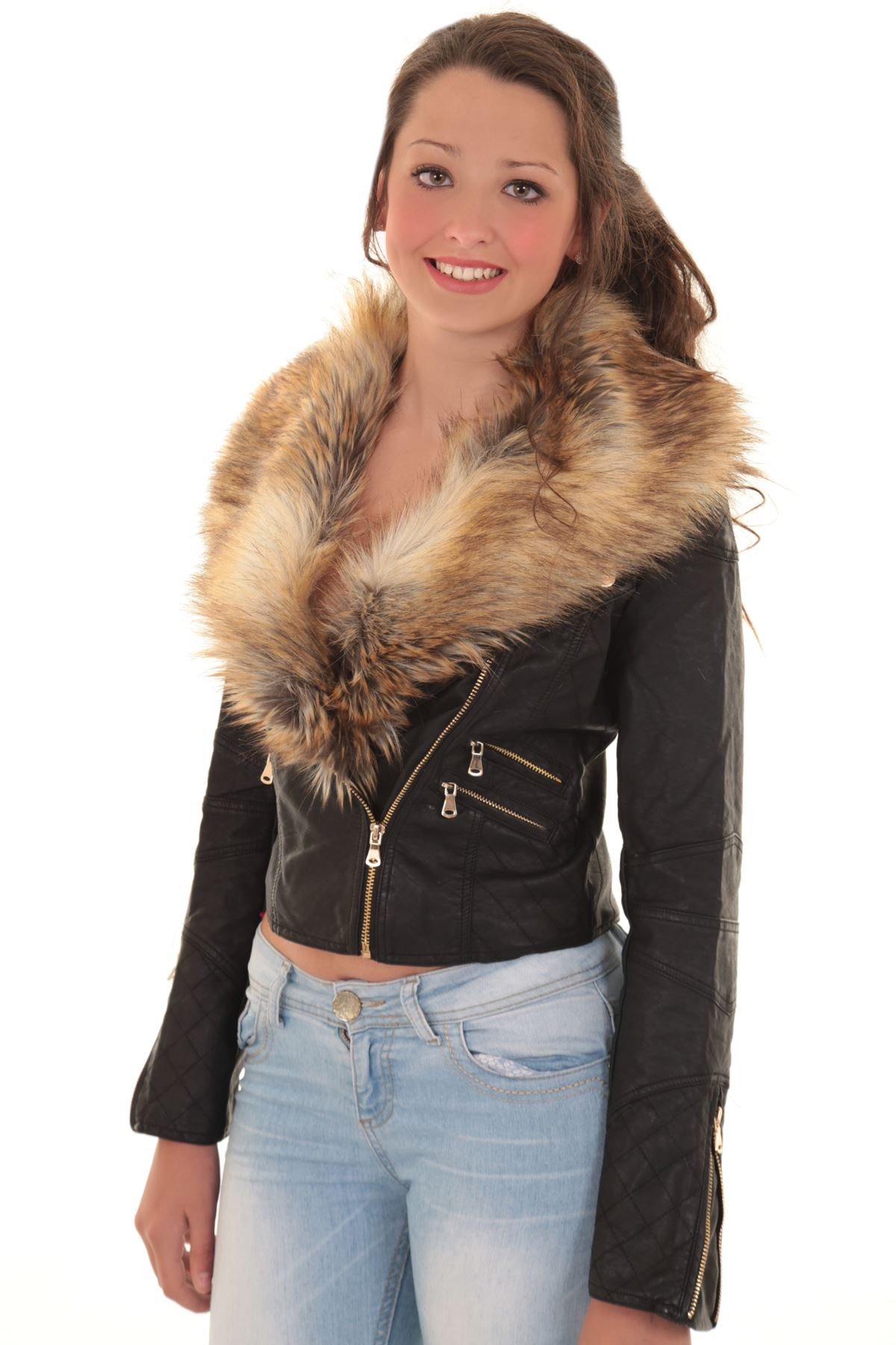 Leather Jacket With Fur Collar For Women - Coat Nj