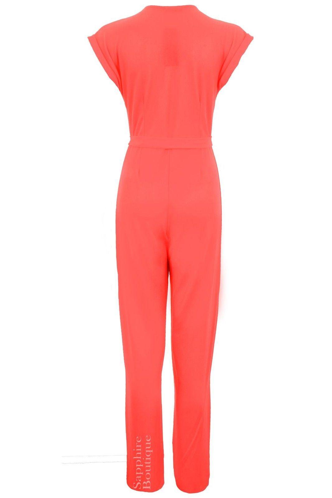 Women's Low V Neck Turn Up Cap Sleeve Crepe Ladies Wrap Front Jumpsuit