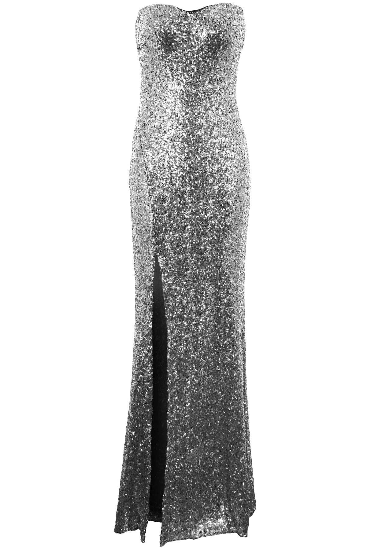 Womens Boobtube Celeb Inspired Amy Side Split Ladies Sequin Maxi Long Dress 8-14