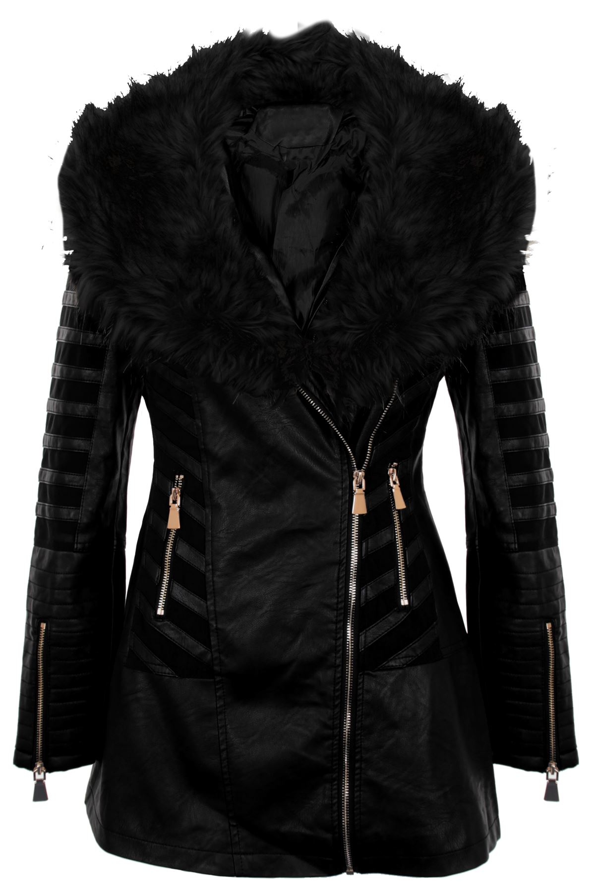 faux fur collar leather coat womens