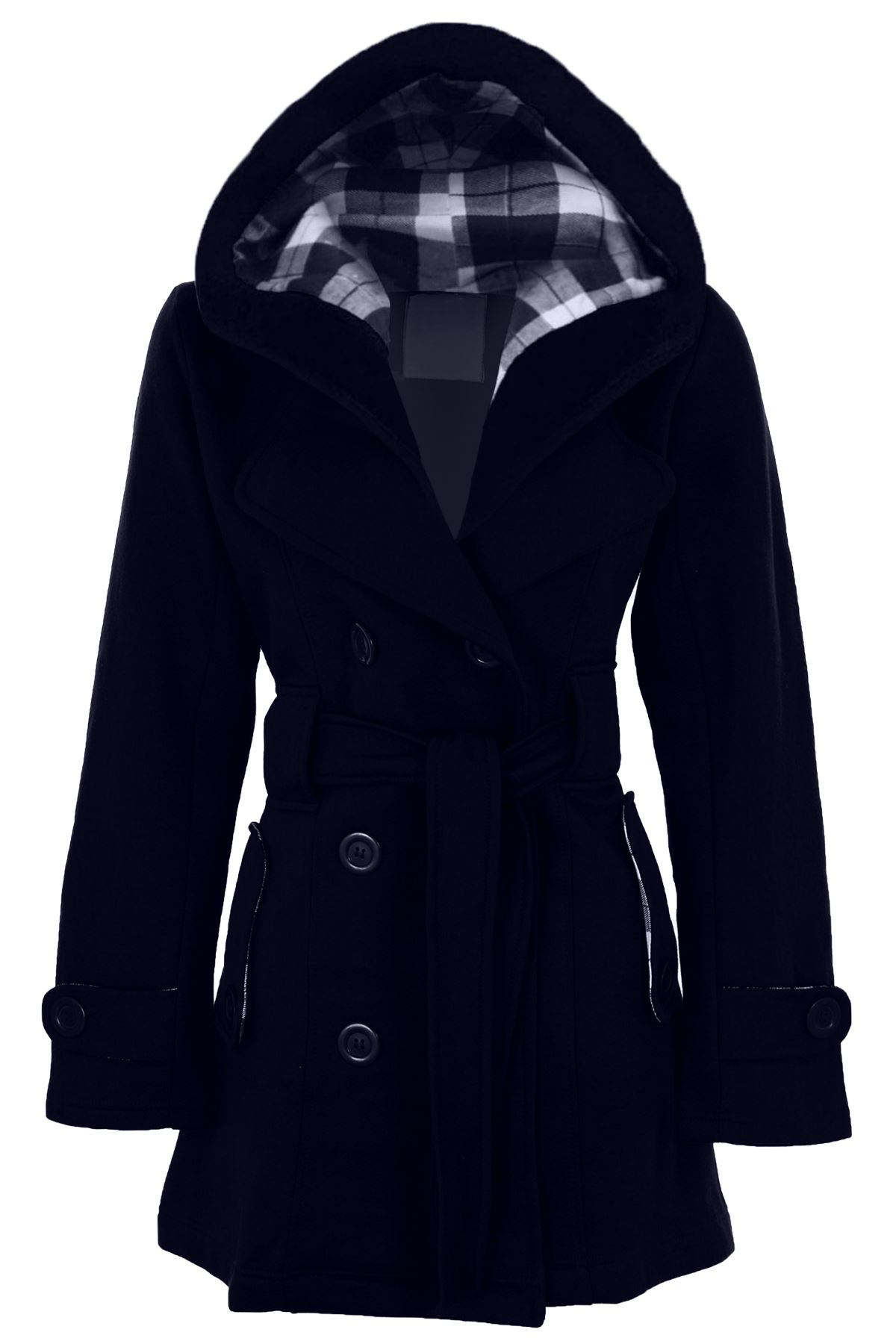 Women-039-s-Belted-Hooded-Button-Up-Ladies-Long-Checked-Winter-Duffle-Jacket-Coat