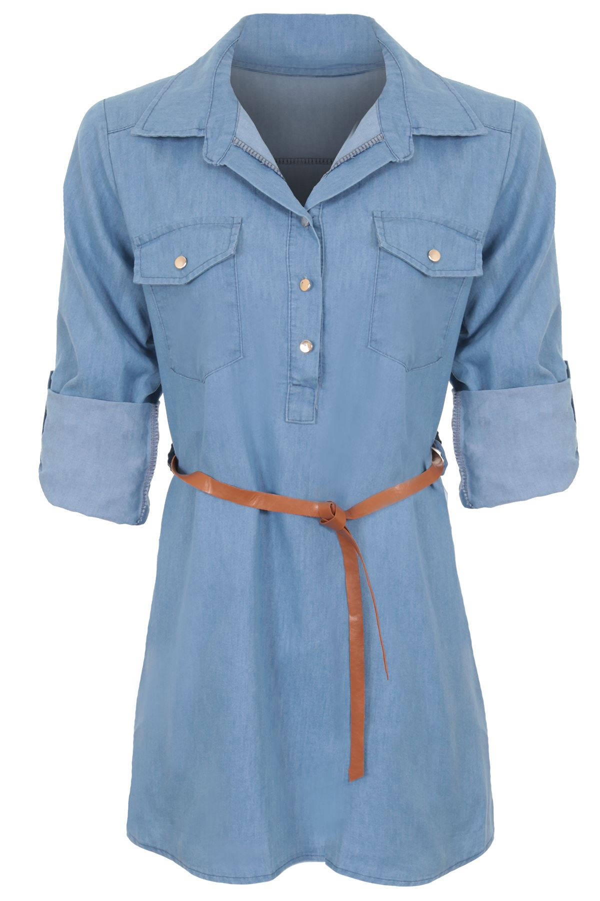 Ladies adjustable long sleeve denim collar belted button for Three button collar shirts