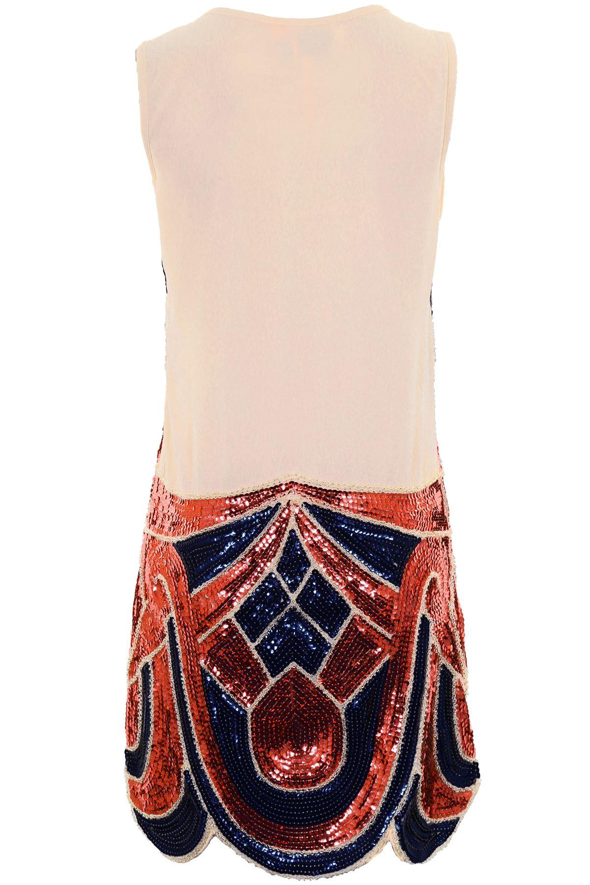 Ladies Lined Sequin Beaded Embellished Women's Scallop Hem 1920's Dress 8-14