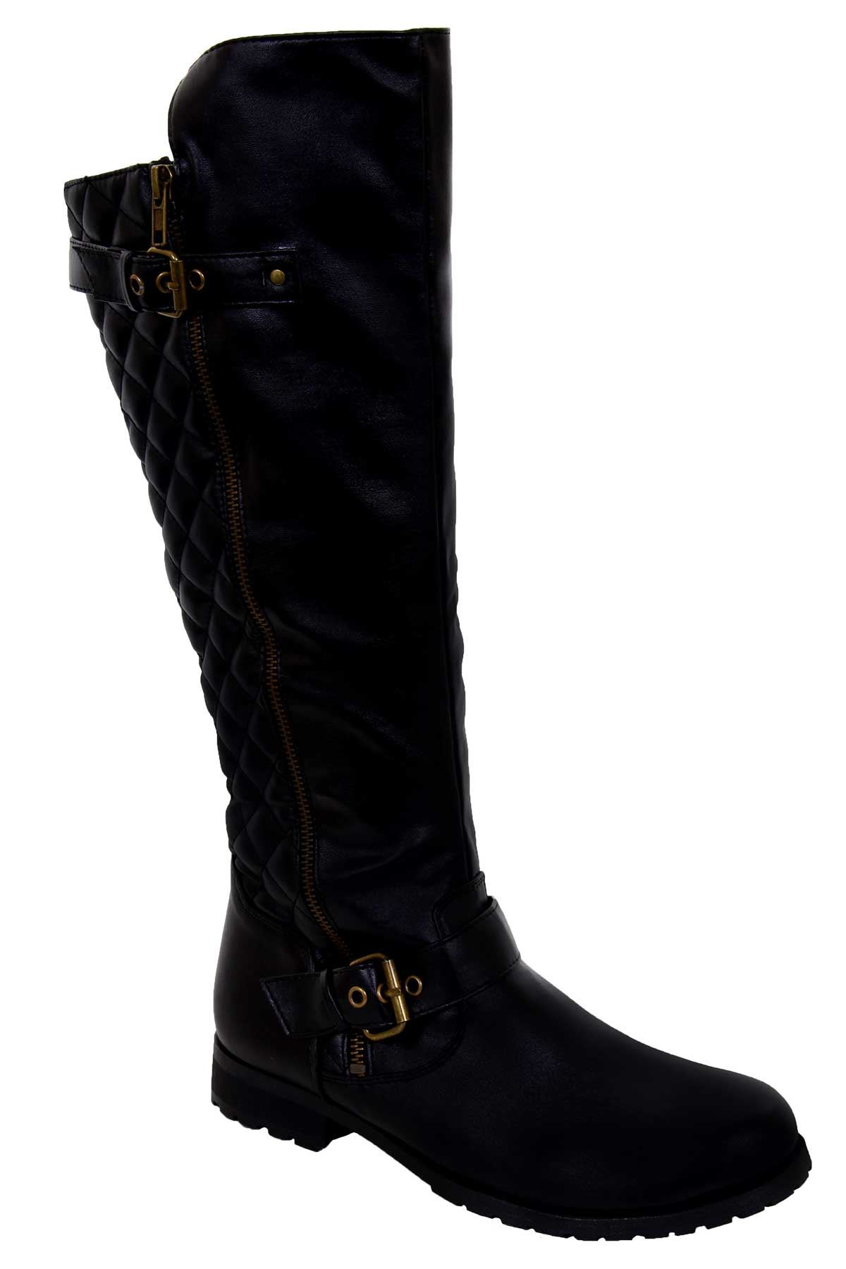 knee high quilted low heel black pu leather s