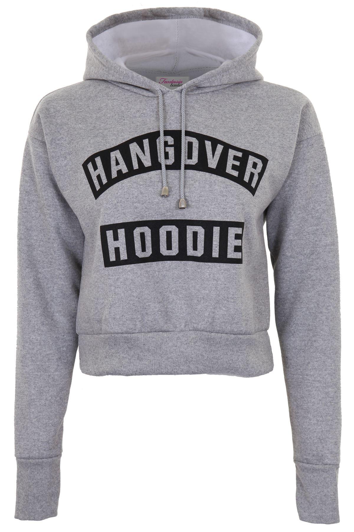ladies hooded hangover hoodie pull over women 39 s hoody crop top jumper ebay. Black Bedroom Furniture Sets. Home Design Ideas
