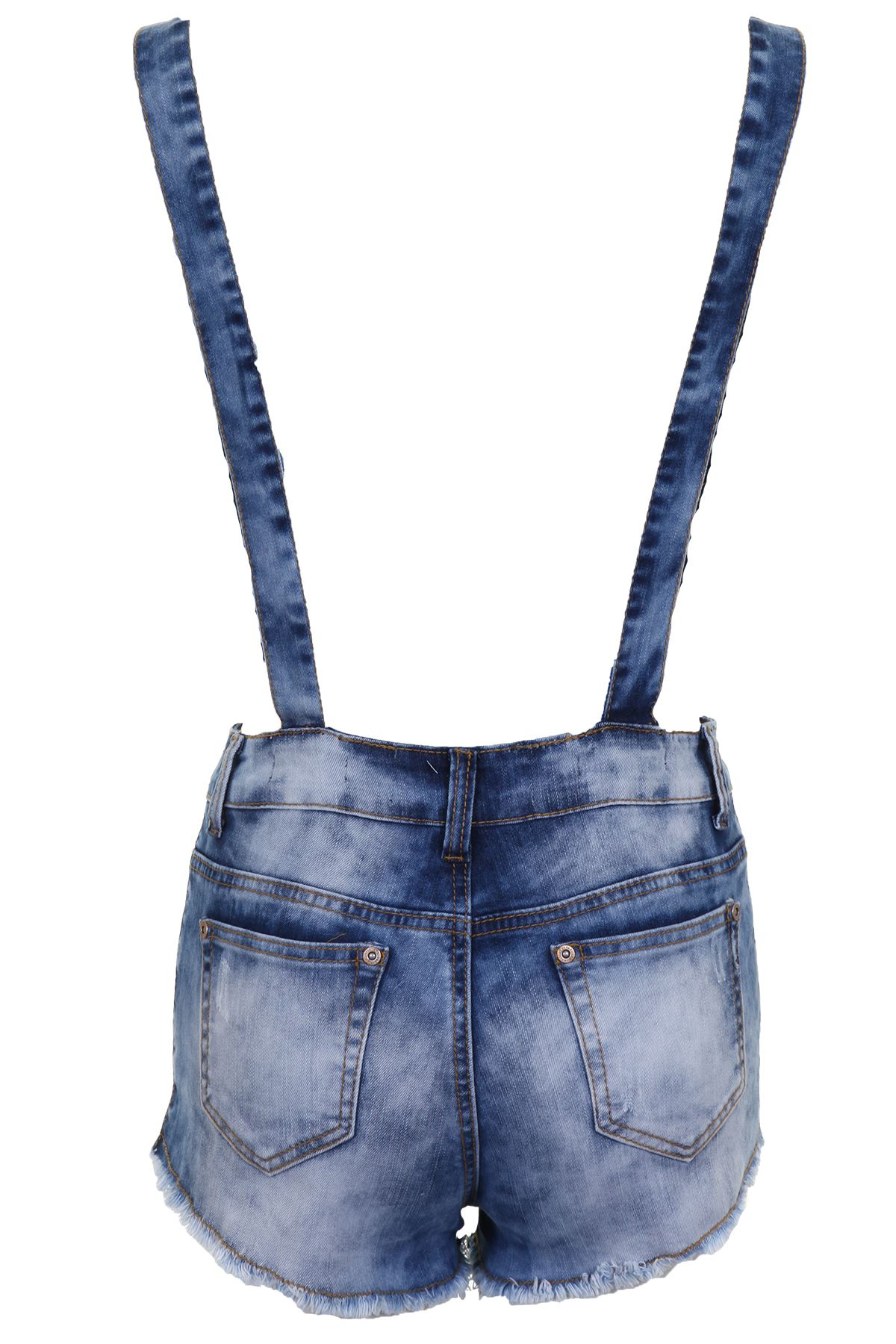 Womens-Distressed-Denim-Brace-Frayed-Summer-Causal-Ladies-Shorts-Dungarees