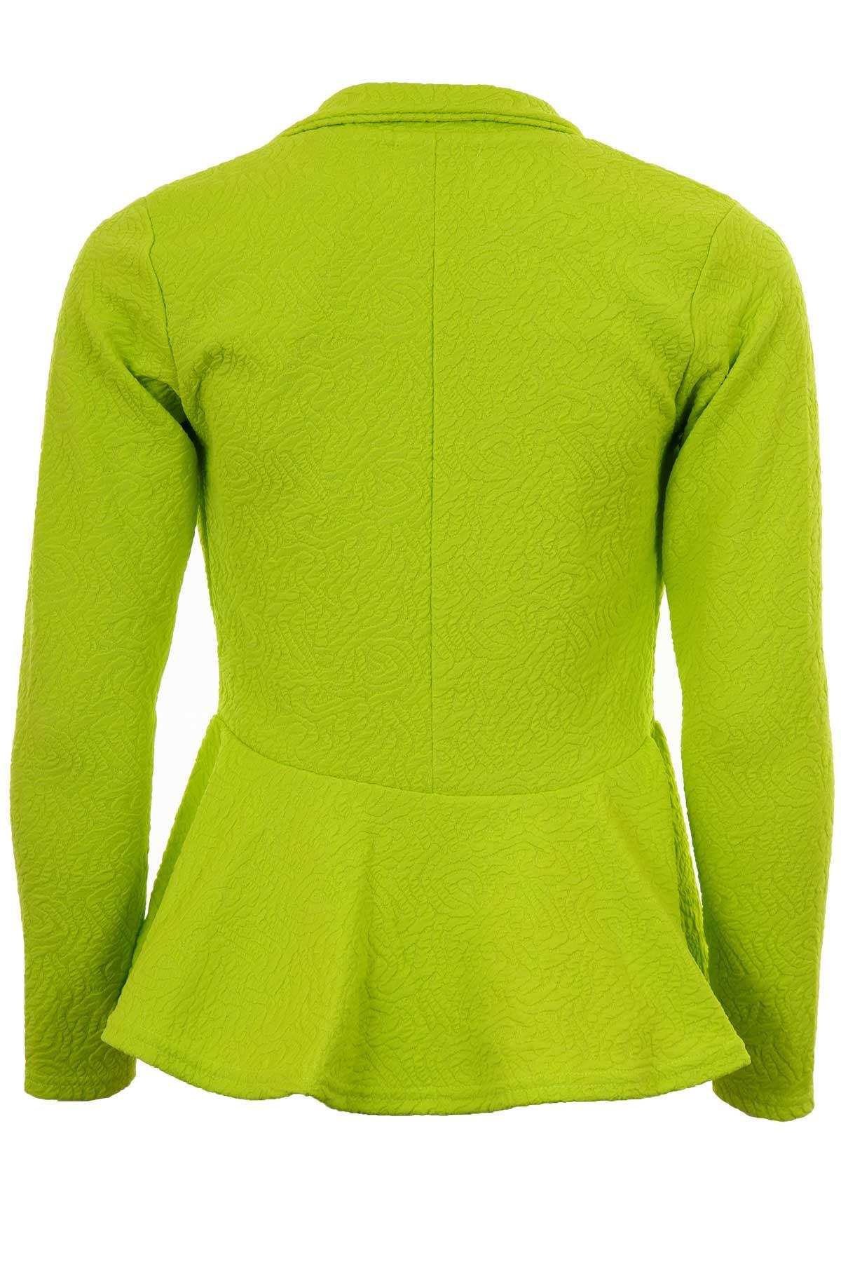 Ladies Textured One Button Luminous Frill Shift Party Blazer Women's Jacket