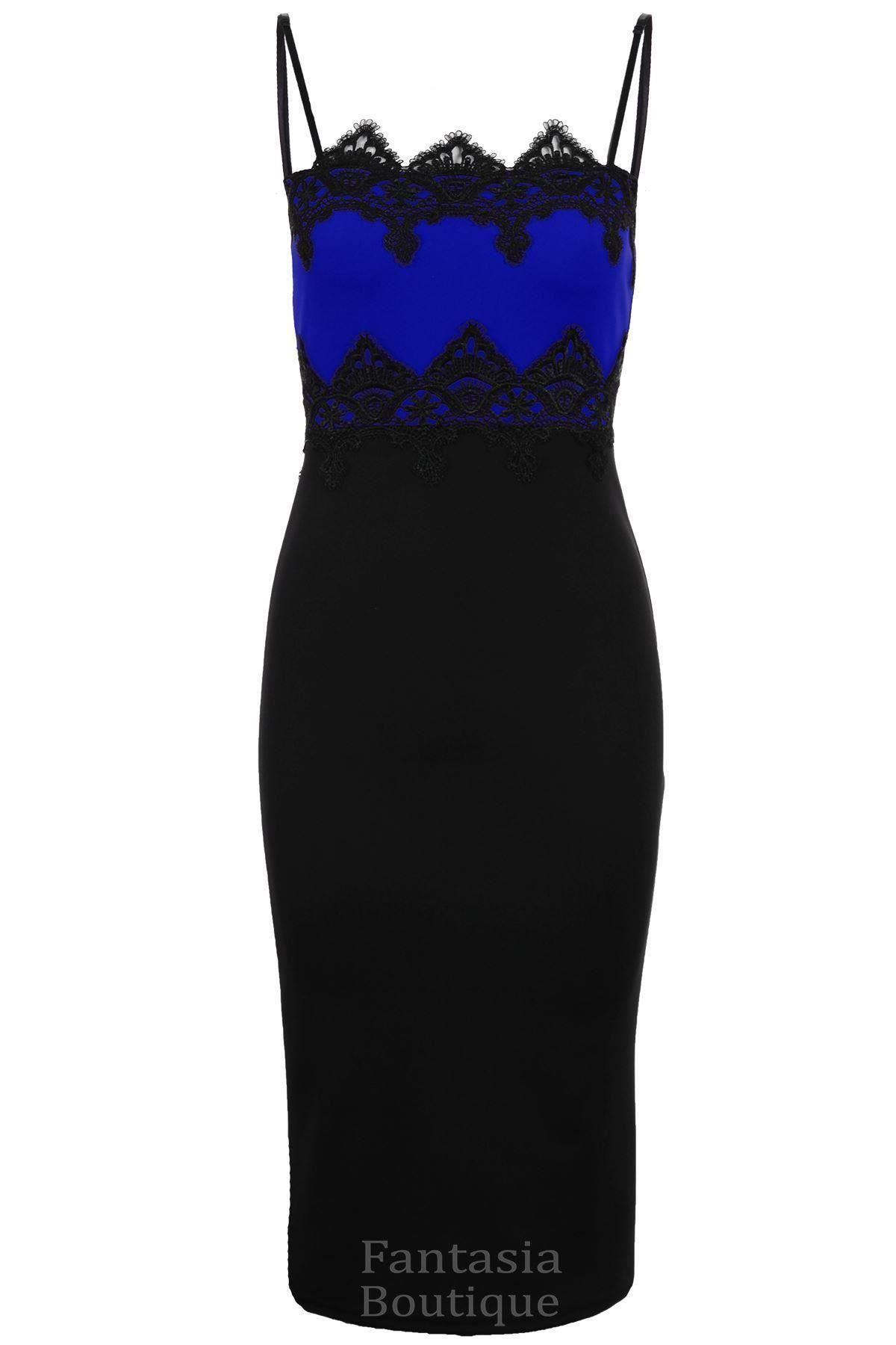 Ladies-Celeb-Inspired-Lace-Trim-Contrast-Bodycon-Knee-Length-Midi-Womens-Dress
