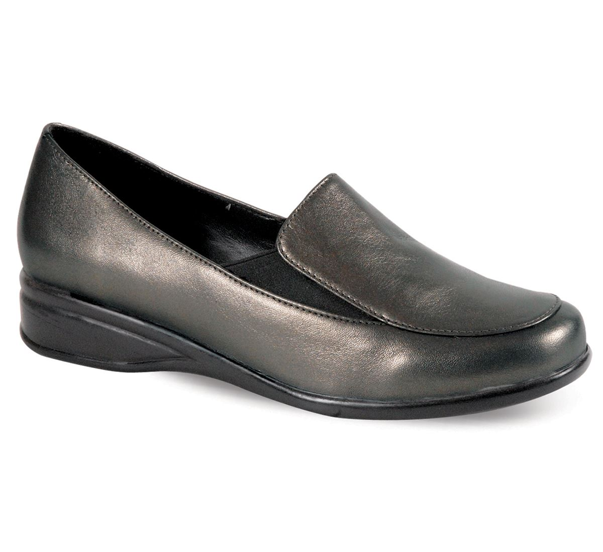 s comfy wide fitting small wedge black pewter
