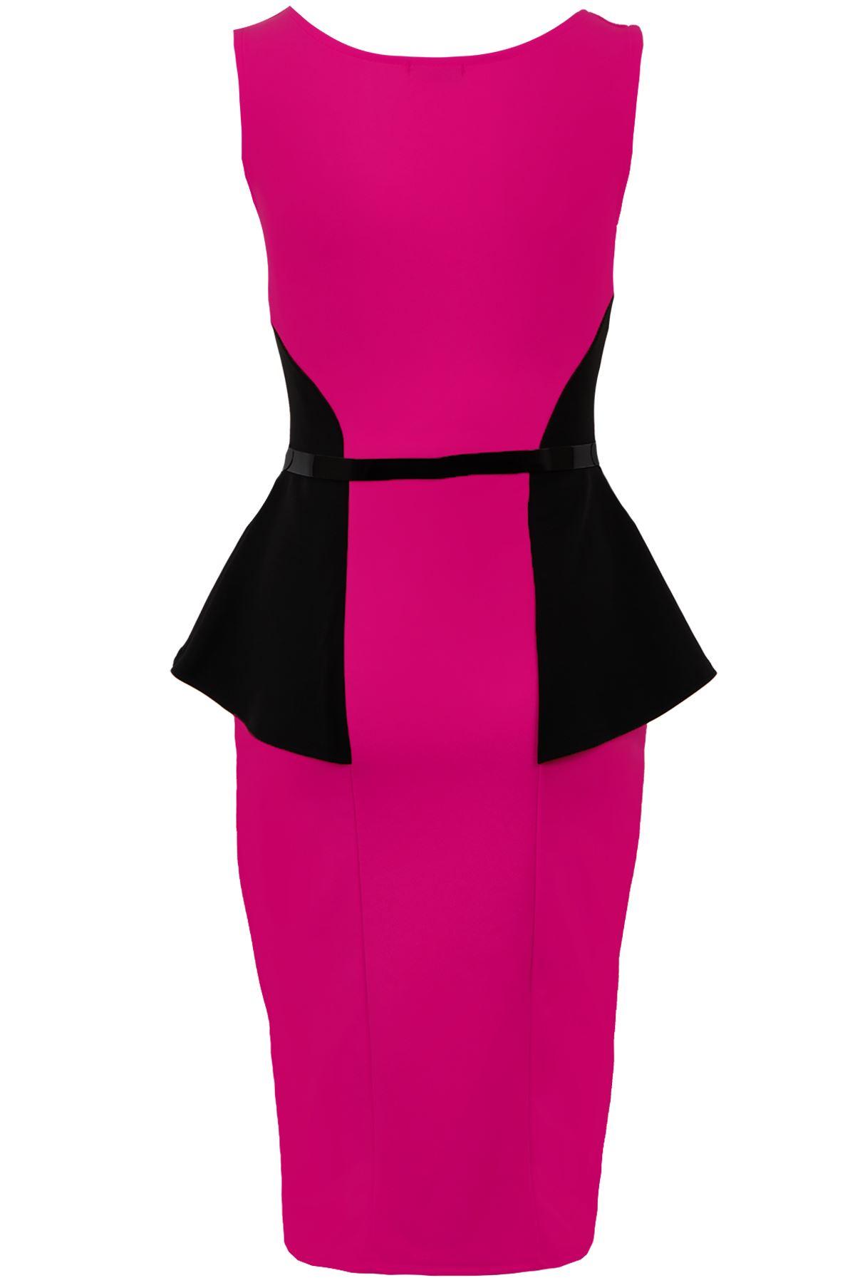Ladies Sleeveless Belted Lace Contrast Women's Wrap Peplum Bodycon Dress
