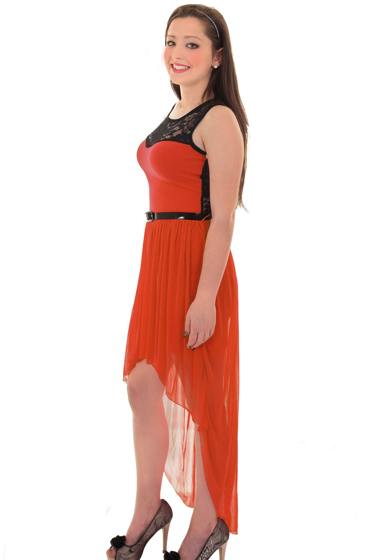 Women's Lace Ivory Red Black High Low Chiffon Maxi Fishtail Ladies Dress