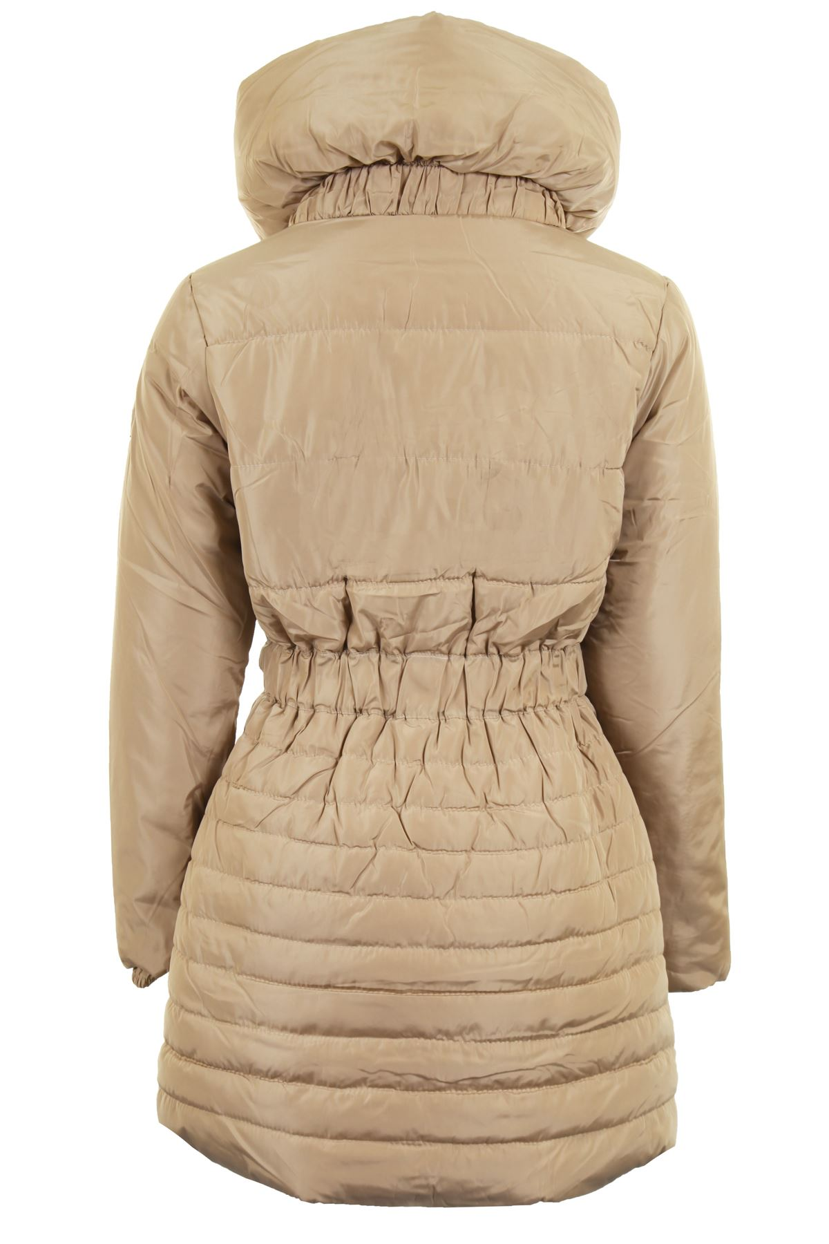 Ladies Quilted Padded Belted Puffer Black Beige Women S