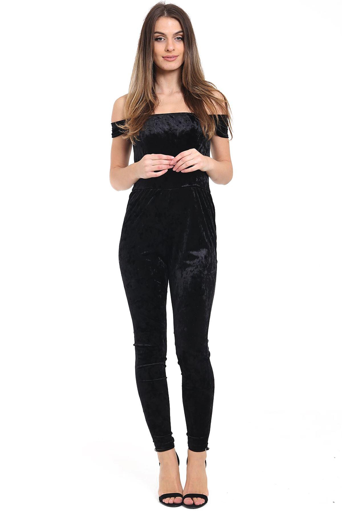 bdb2060d9f7 Ladies crushed velvet velour off shoulder stretch bardot jpg 1200x1800 Velour  jumpsuits for women