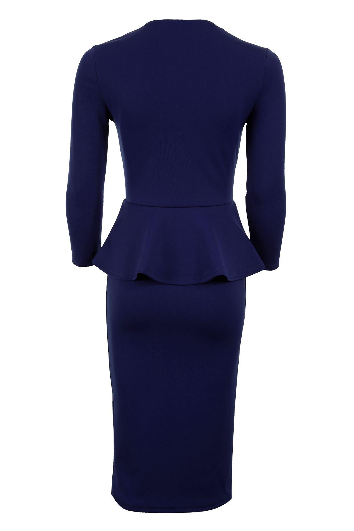 Women's V Neck 3/4 Sleeve Peplum Skirt Midi Knee Length Ladies Dress 8-24