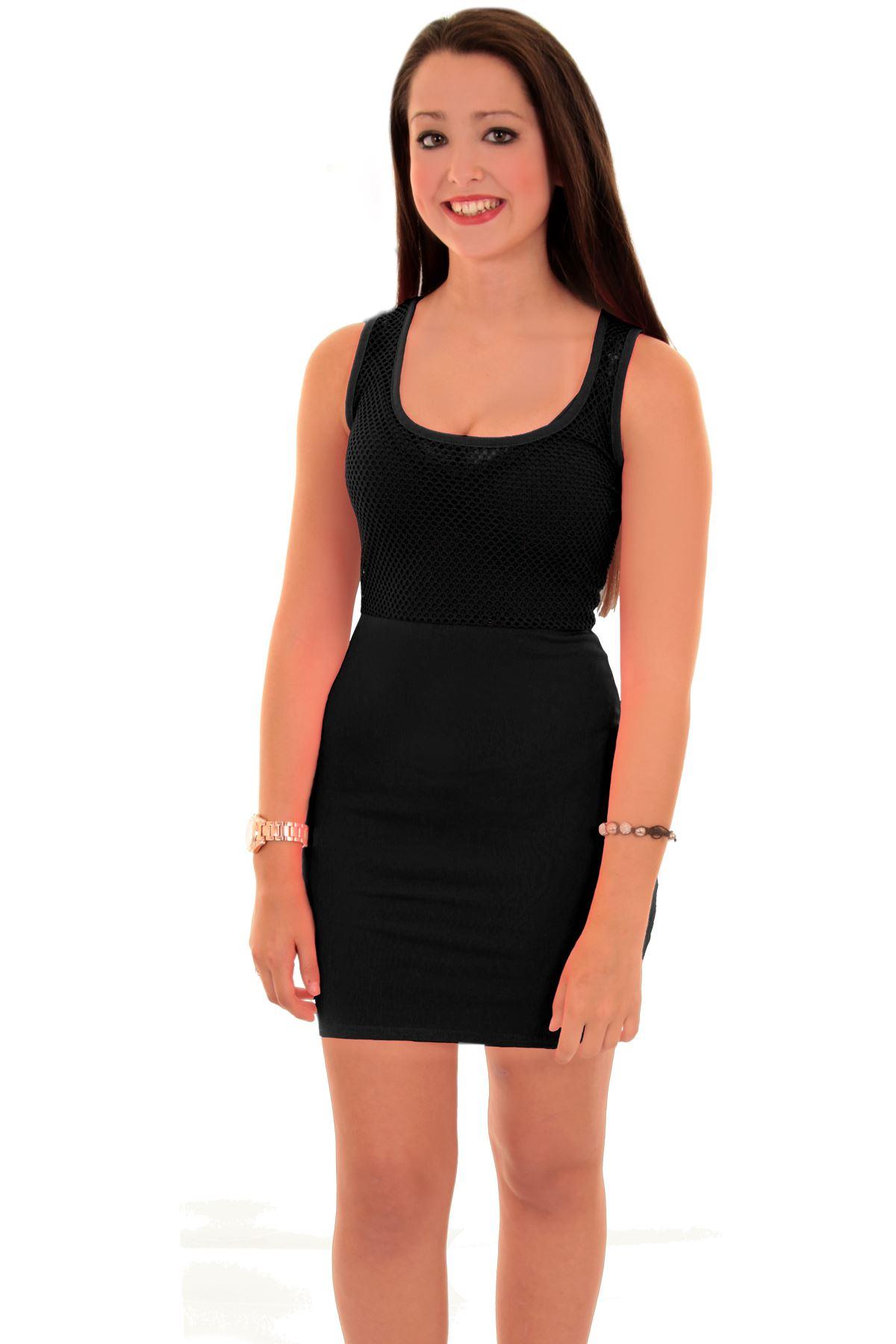 Ladies Celeb Nicole Racer Back Sleeveless Fish Net Bodycon Mini Short Dress | eBay