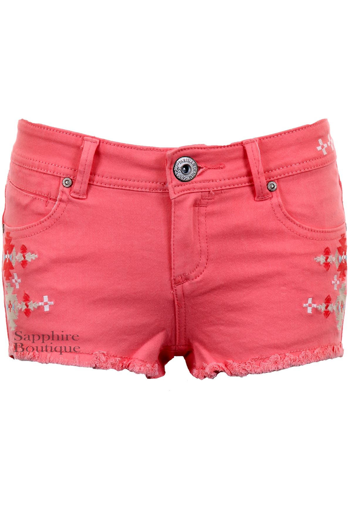 Womens-Pastel-Coloured-Aztec-Denim-Summer-Fitted-Hot-Pants-Shorts-Jeans-6-14
