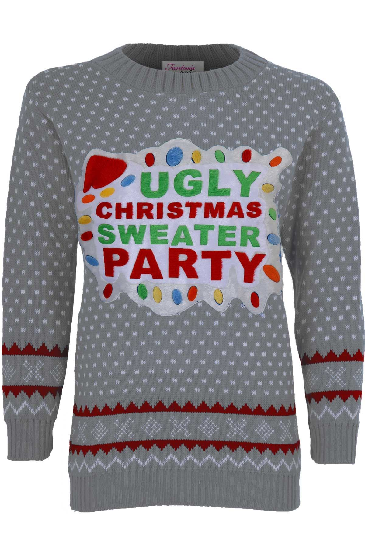Ugly Christmas Jumper Knitting Pattern : Ladies XMAS Novelty Womens Knitted Ugly Christmas Sweater Party Jumper 8...