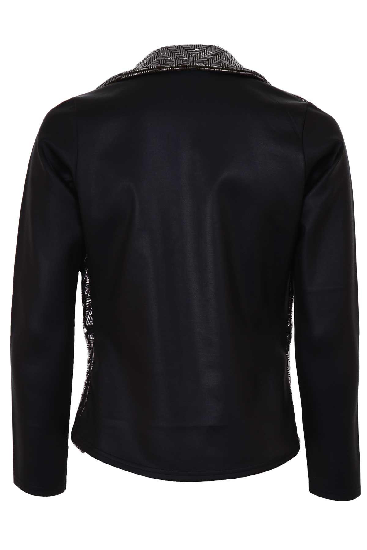 Ladies Metallic Quilted PVC Wet Look Women's High Low Zip Smart Jacket Blazer