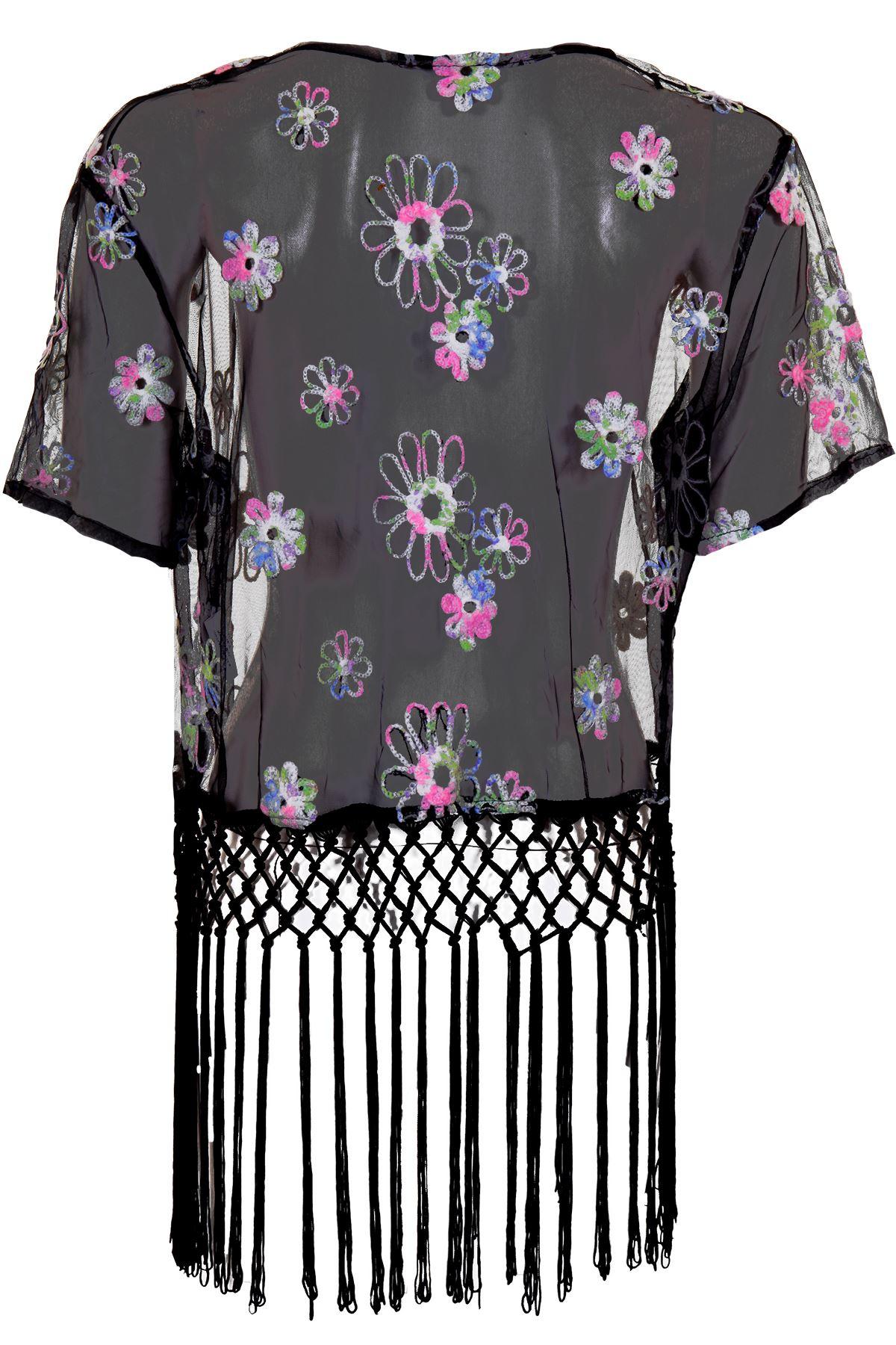 Women's Mesh Translucent Short Sleeve Floral Tasseled Ladies Jacket Kimono